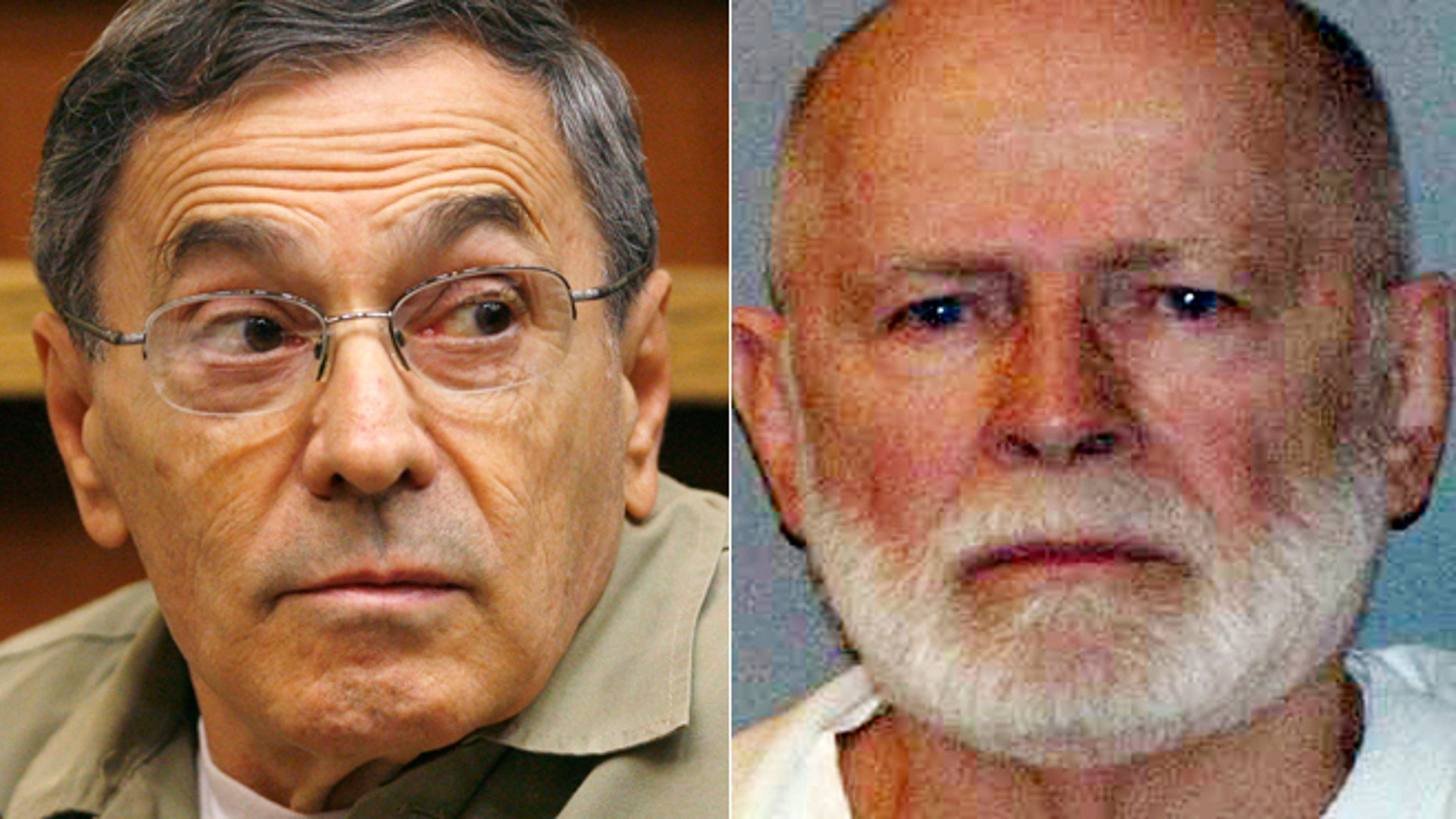 """This pair of file photos shows Stephen """"The Rifleman"""" Flemmi, left, on Sept. 22, 2008, as he testified in a Miami court in the murder trial of former FBI agent John Connolly; and James """"Whitey"""" Bulger, right, in a June 23, 2011 booking photo provided by the U.S. Marshals Service."""
