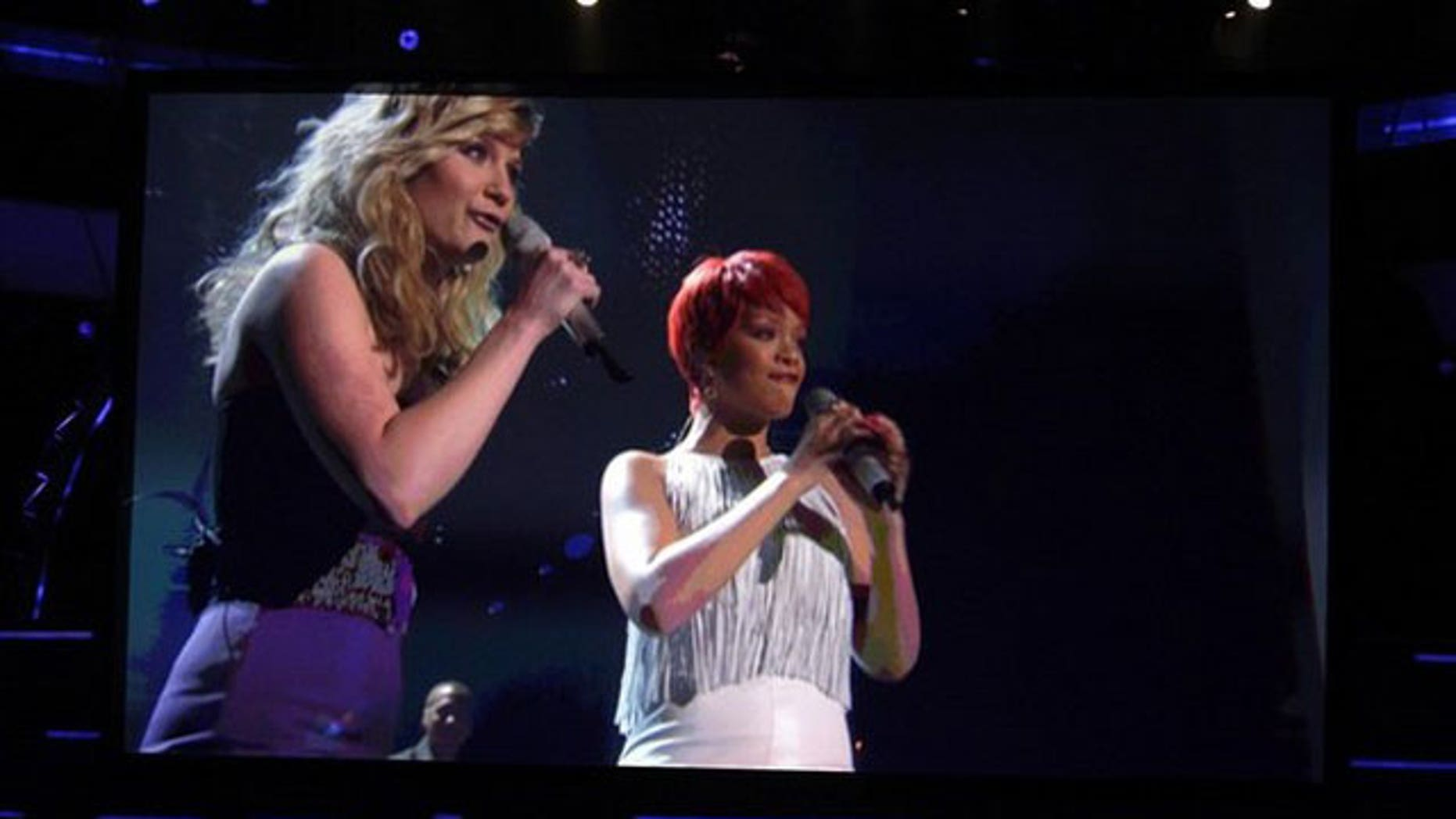 April 3: Jennifer Nettles and Rihanna perform at the 46th annual Academy of Country Music Awards. (Reuters)