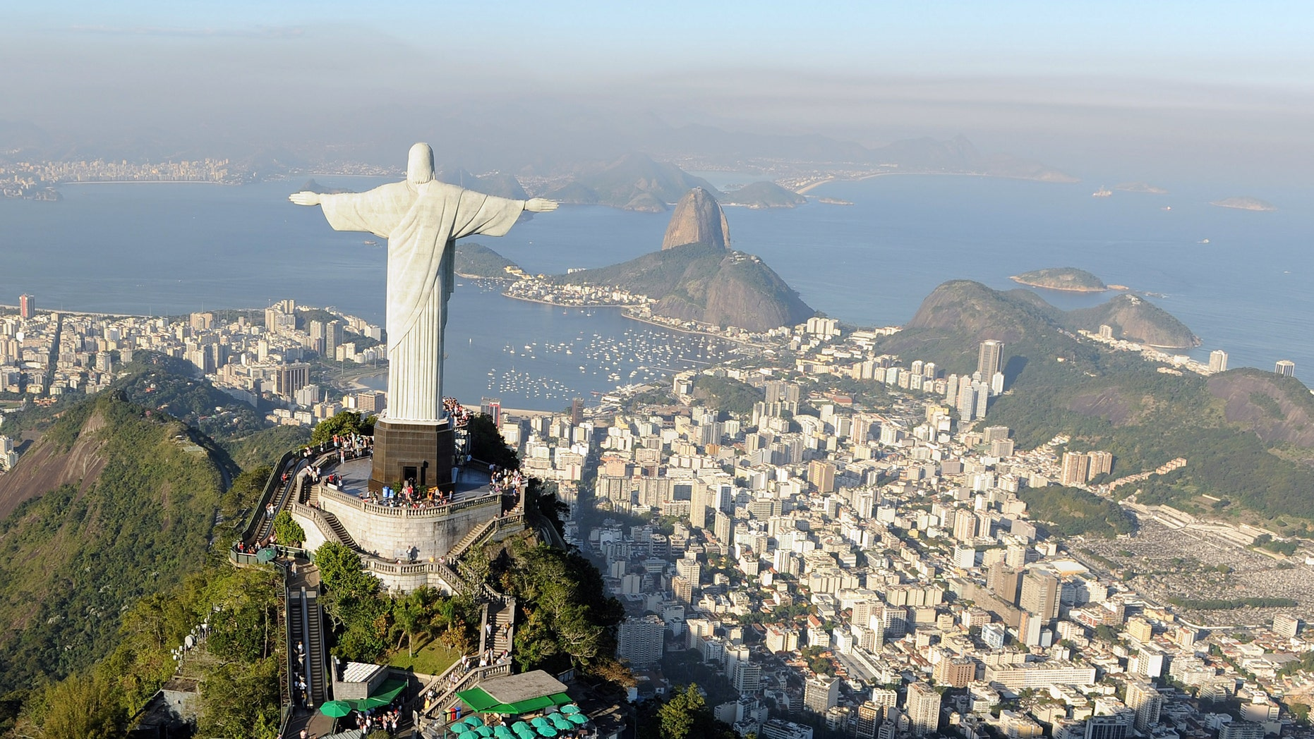 RIO DE JANEIRO, BRAZIL - JULY 27:  An aerial view of the 'Christ the Redeemer' statue on top of Corcovado mountain on July 27, 2011 in Rio de Janeiro, Brazil.  (Photo by Michael Regan/Getty Images)