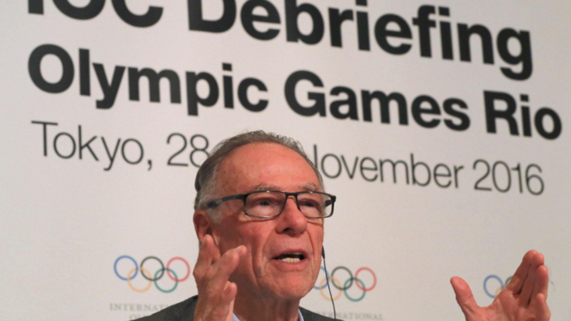 Carlos Nuzman, president of the Rio 2016 Organizing Committee, delivers speech during a press conference of the closing plenary session of the IOC Debriefing of the Olympic Games Rio 2016, in Tokyo, Wednesday, Nov. 30, 2016. The three-day IOC debriefing ends Wednesday to share knowledge and experiences between the Rio Olympic Games organizers and future host cities, including Tokyo which will host the 2020 Olympics and Paralympics. (AP Photo/Eugene Hoshiko)