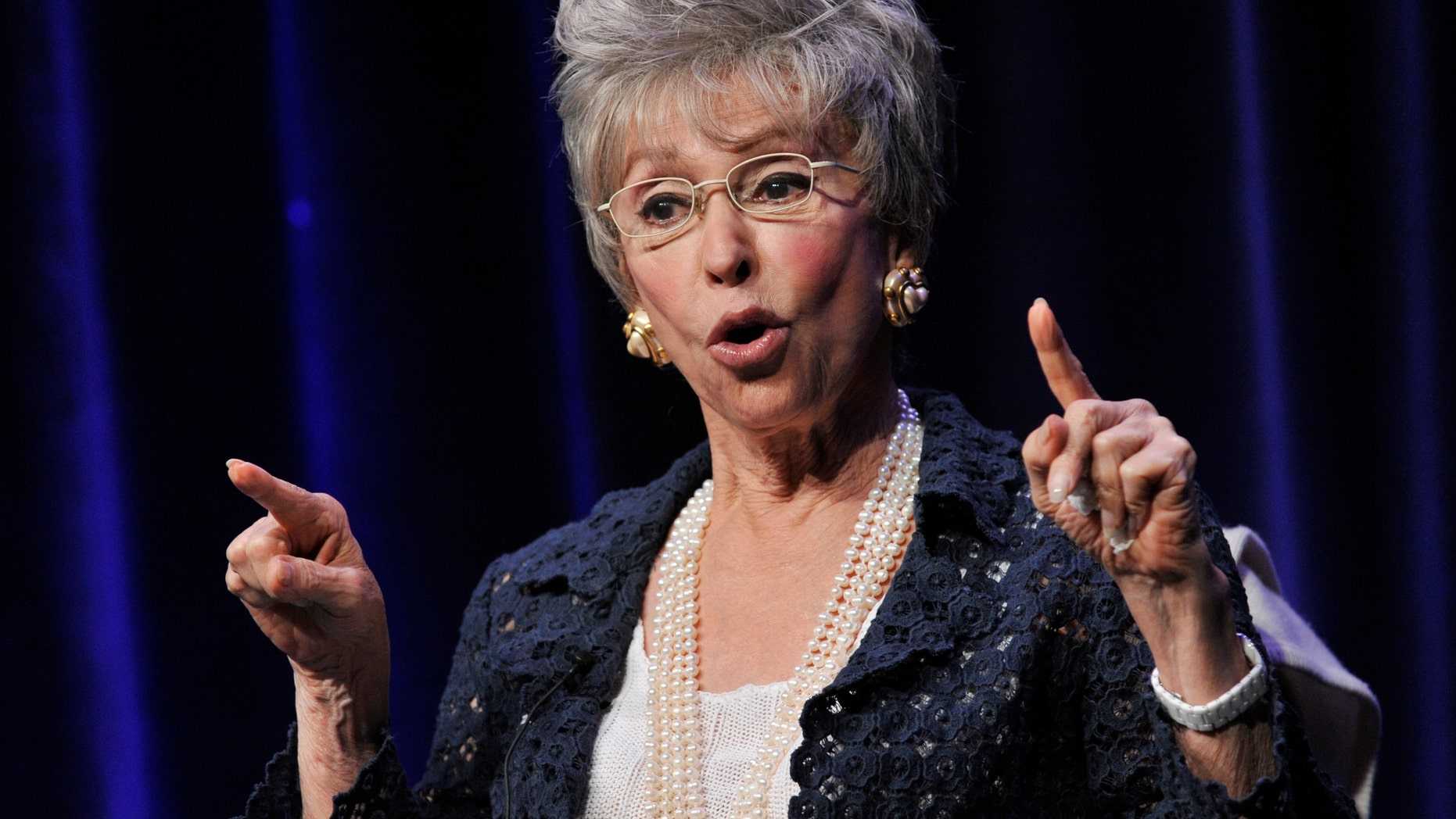 """Actress/singer Rita Moreno during a panel discussion on the documentary film """"Latino Americans"""" on Wednesday, Aug. 7, 2013, in Beverly Hills, Calif."""