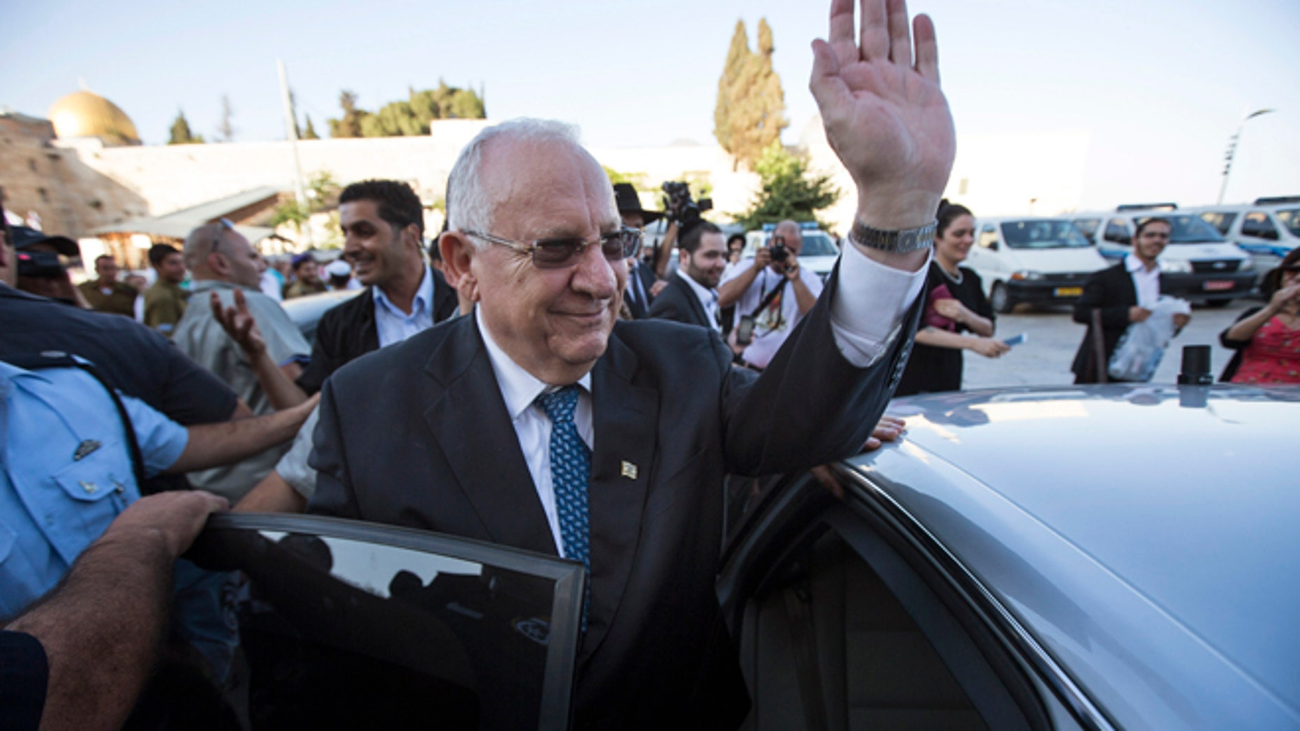 June 10, 2014: Reuven Rivlin a former speaker of parliament and the newly elected Israeli president waves to well-wishers after visiting the Western Wall, Judaism's holiest prayer site, in Jerusalem's Old City. (Reuters)