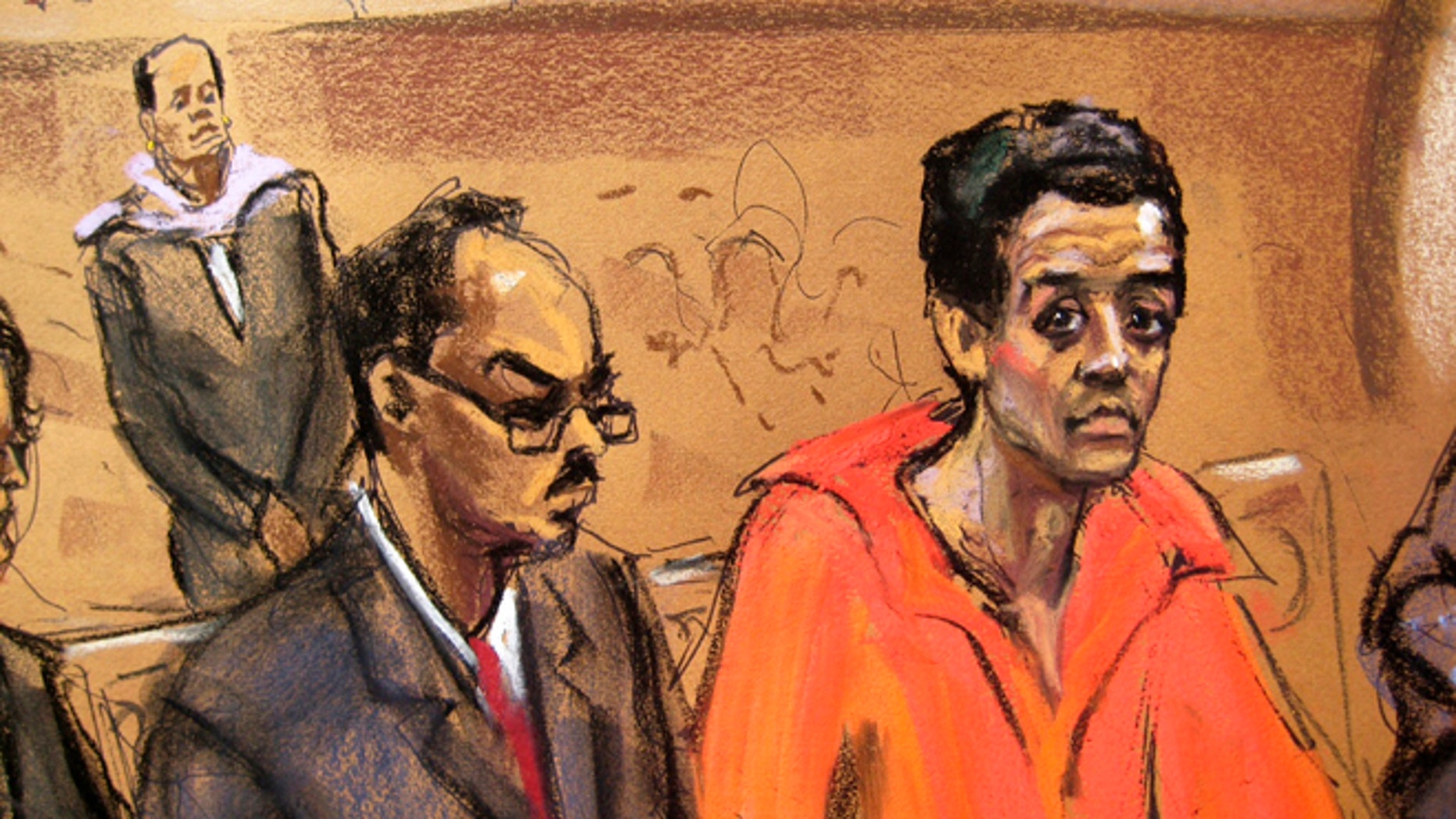 Robel Phillipos (R), the teenager accused of lying to FBI agents in the Boston Marathon bombing investigation, appears in court in Boston, Massachusetts in this May 6, 2013 court sketch.