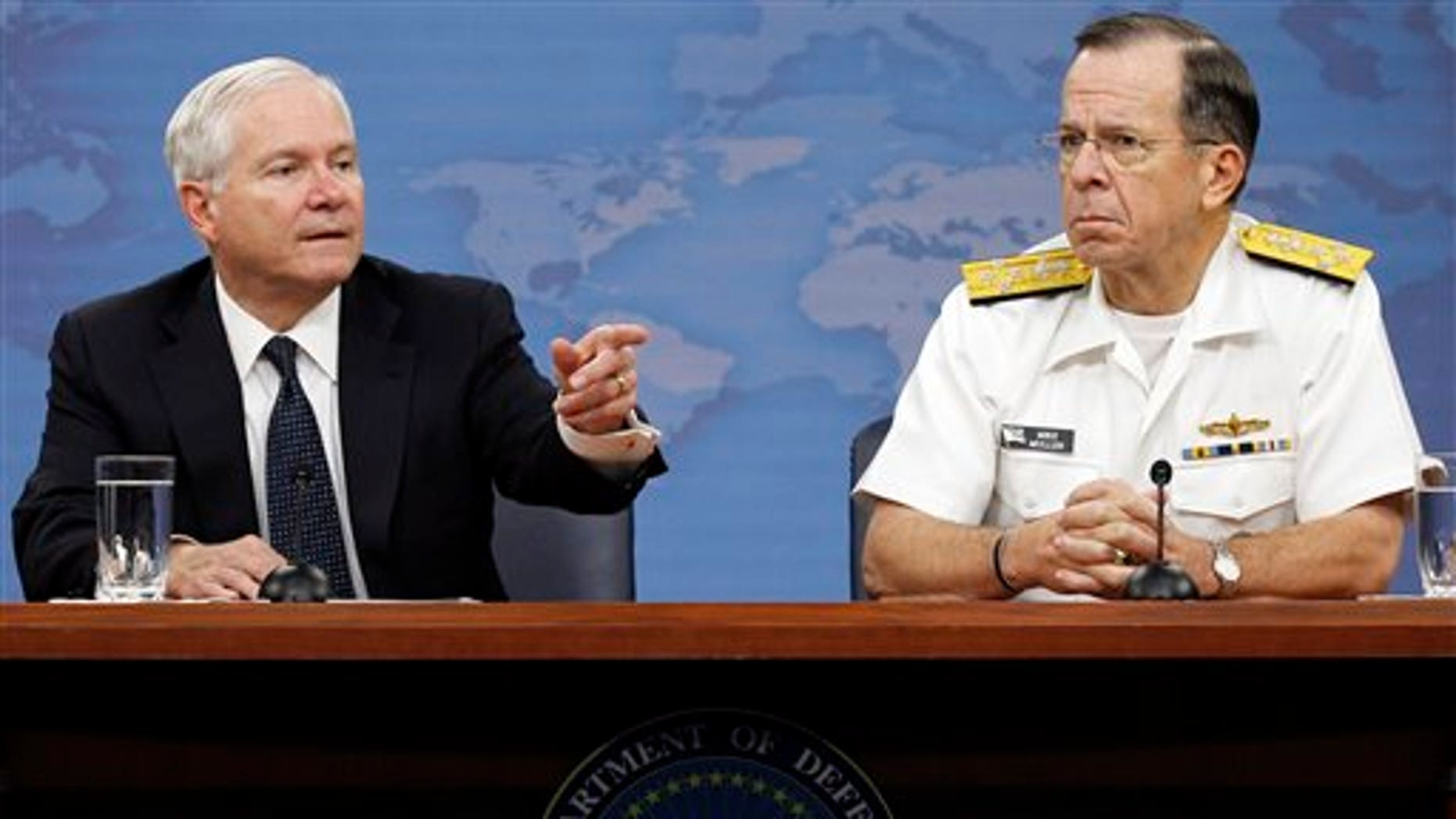 May 18: Secretary of Defense Robert M. Gates and Chairman of the Joint Chiefs of Staff Adm. Mike Mullen at the Pentagon in Washington.