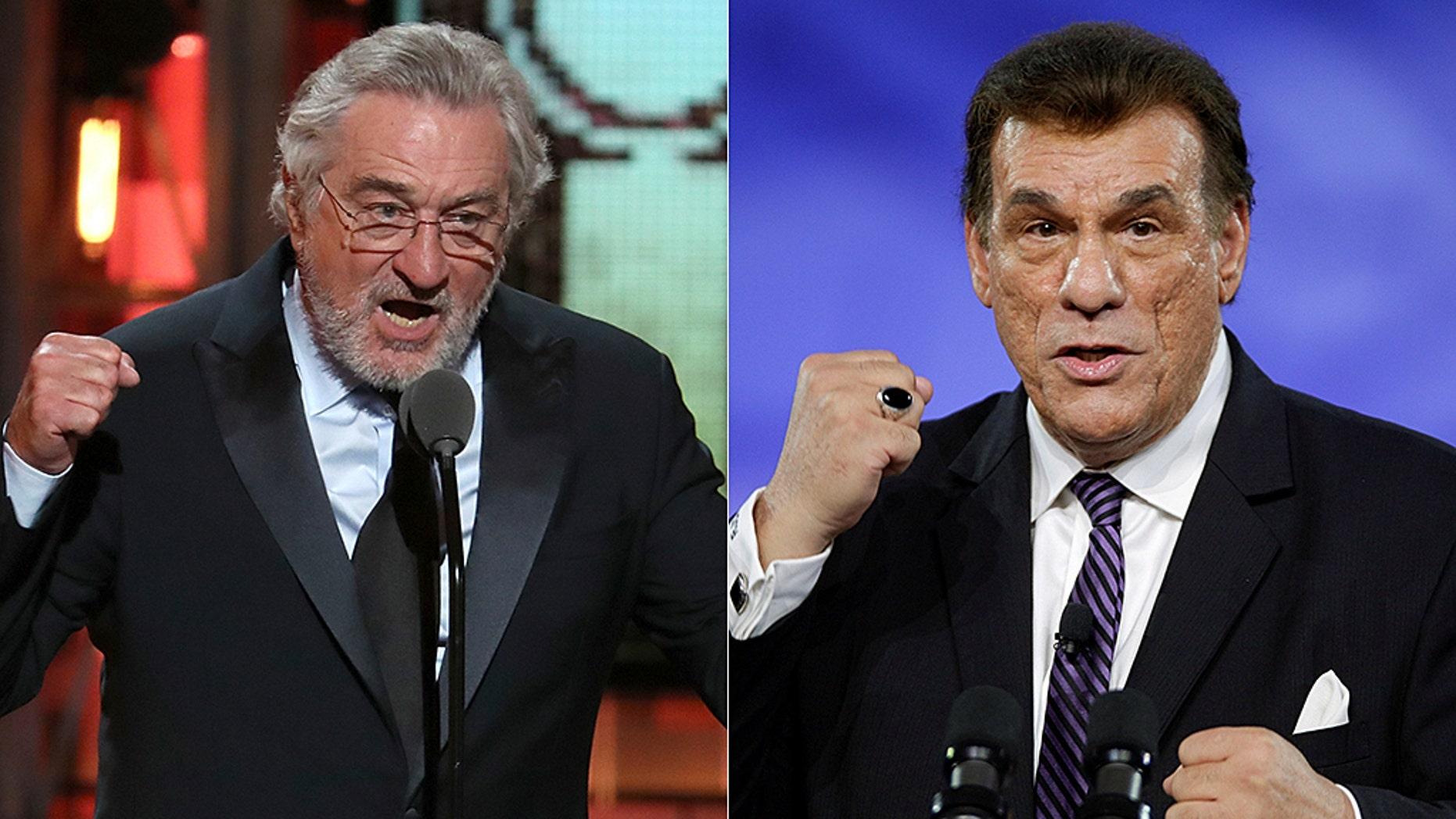 Robert Davi, right, criticized Robert De Niro's, right, speech at the Tony Awards.