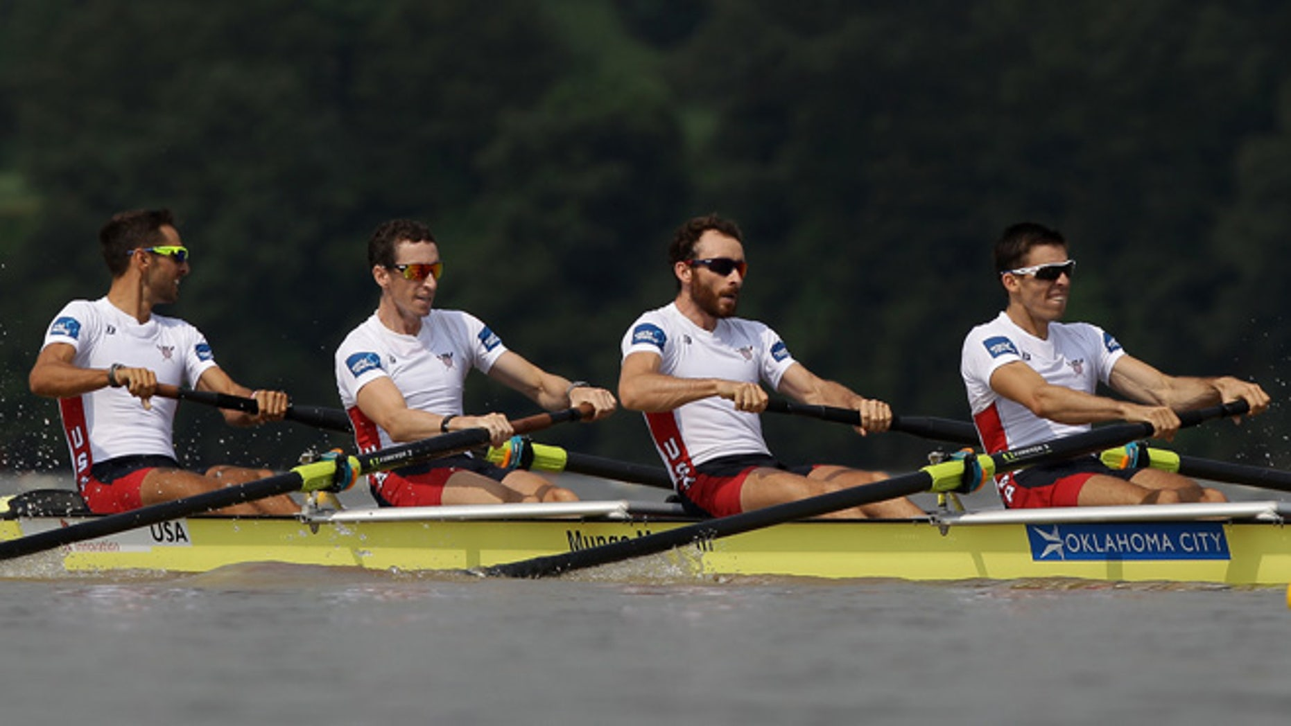 CHUNGJU, SOUTH KOREA - AUGUST 30:  Robert Duff, William Daly, Anthony Fahden and Robin Prendes of United States compete in the Lightweight Men's Four final during day six of the 2013 World Rowing Championships on August 30, 2013 in Chungju, South Korea.  (Photo by Chung Sung-Jun/Getty Images)