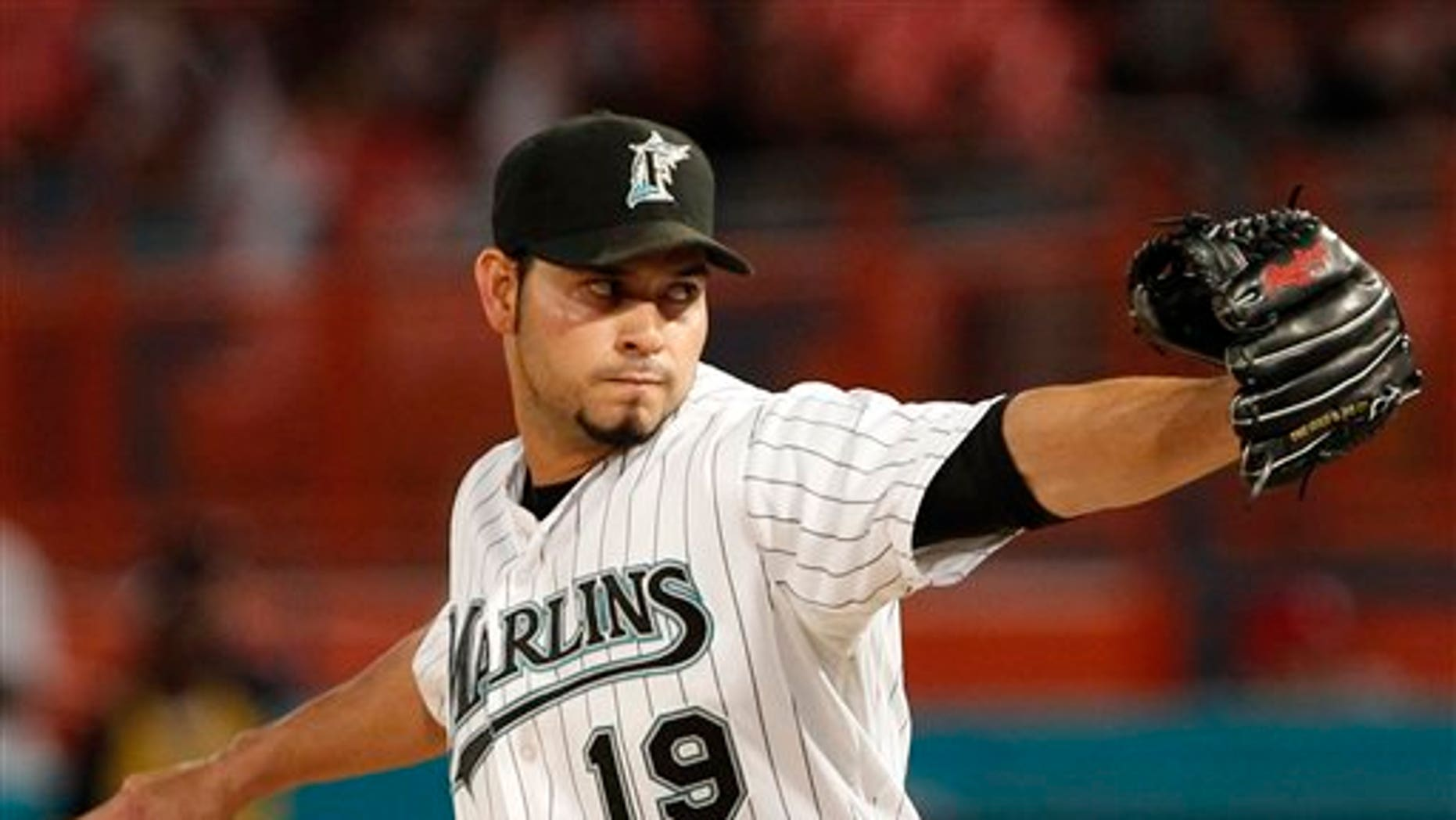 April 22, 2011: Florida Marlins' Anibal Sanchez delivers a pitch in the seventh inning of a baseball game against the Colorado Rockies in Miami. Rockies' Dexter Fowler singled to lead off the ninth inning for the only hit against Sanchez in the game as the Marlins defeated the Rockies 4-1.