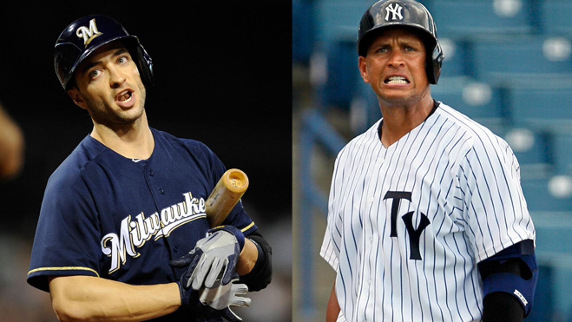 Milwaukee Brewers' Ryan Braun and New York Yankees' Alex Rodriguez.