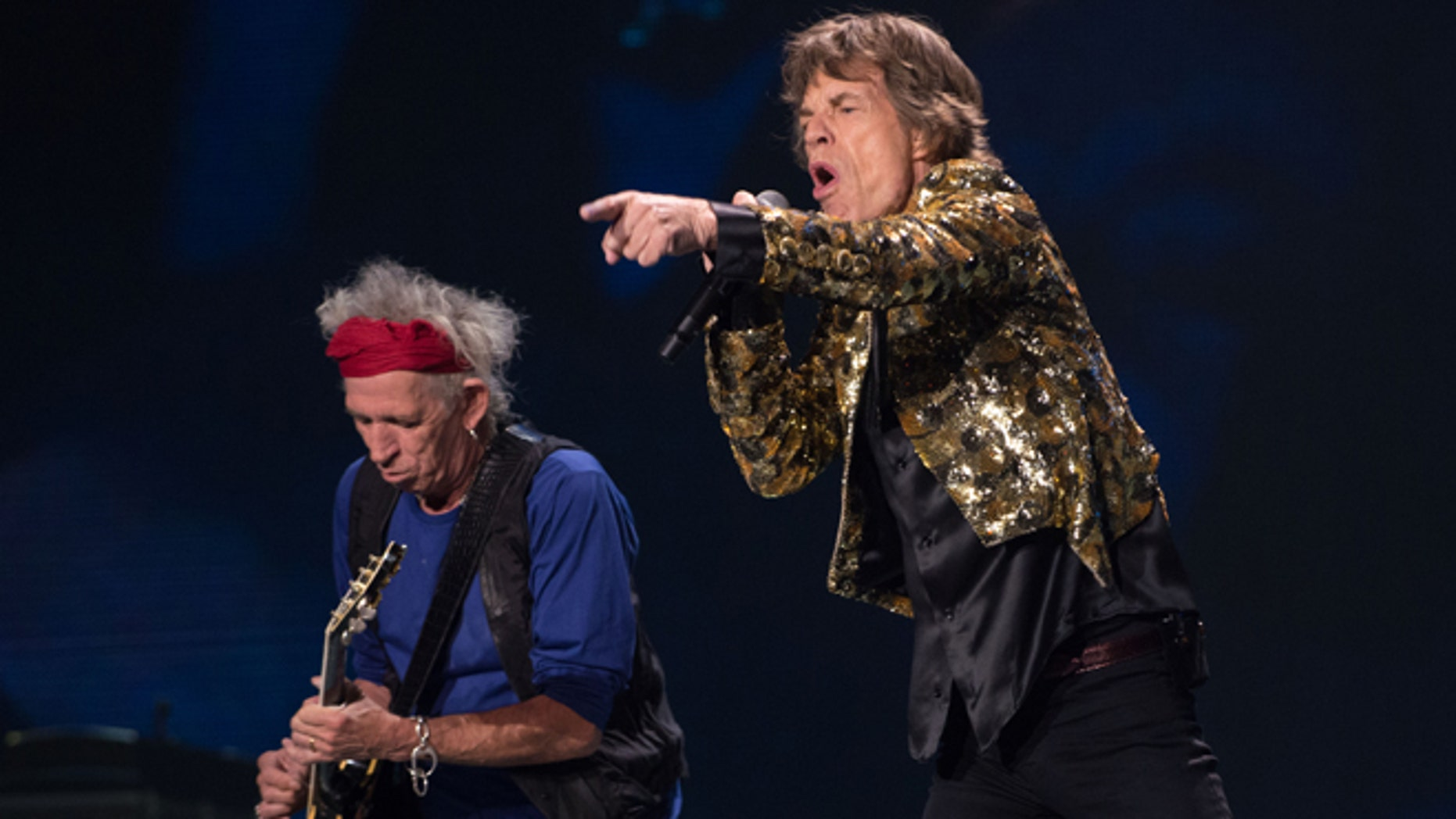 May 11: Keith Richards and Mick Jagger of the Rolling Stones performs in concert at the MGM Grand Garden Arena.