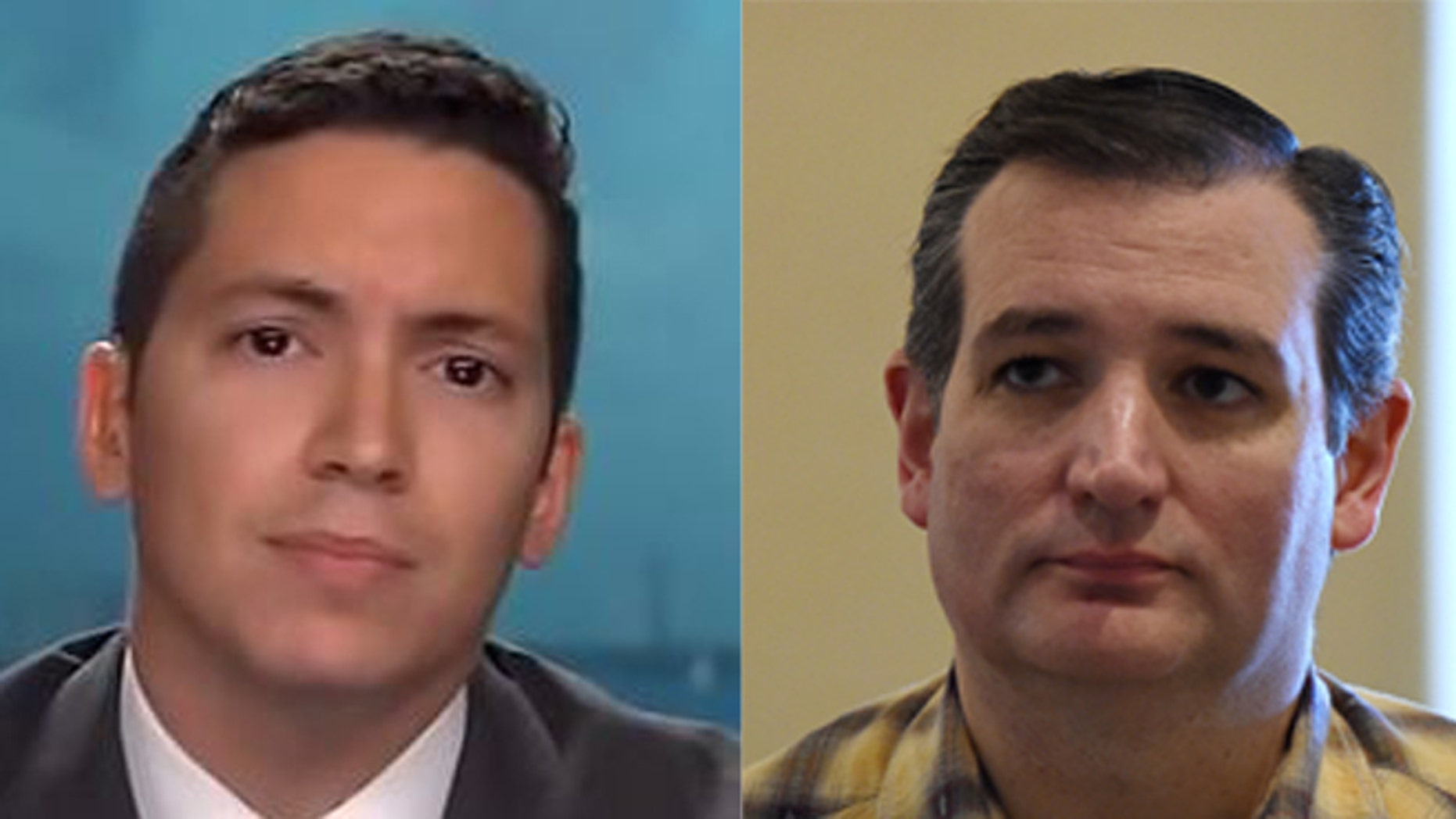 This is a photo composite of Cruz campaign Miami-Dade chairman Manny Roman (L) on Fox News and Republican presidential candidate Ted Cruz (R).
