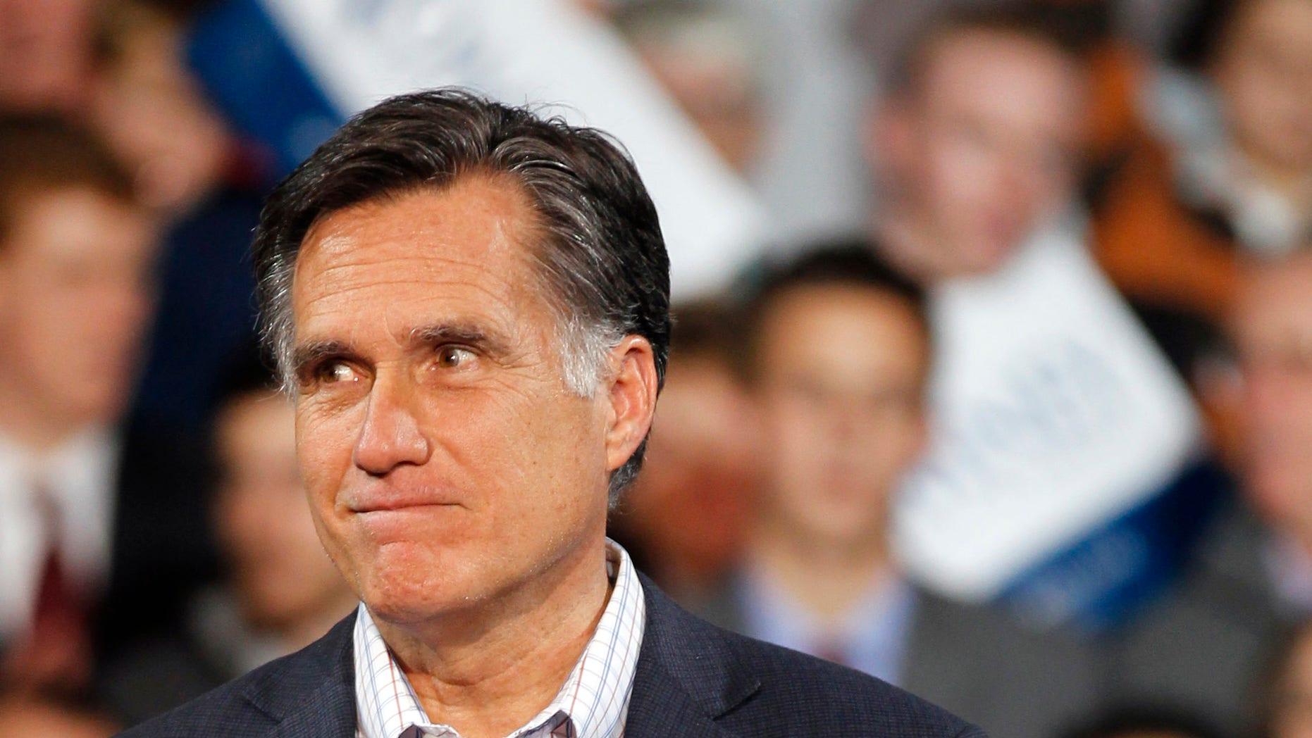 Republican presidential candidate, former Massachusetts Gov. Mitt Romney speaks during a 2012 election night rally in Denver.
