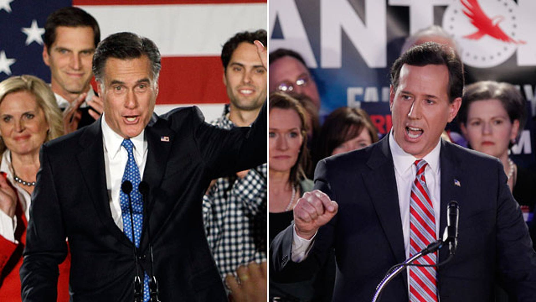 Jan. 3, 2011: Republican candidates Mitt Romney and Rick Santorum address supporters after the Iowa caucuses.