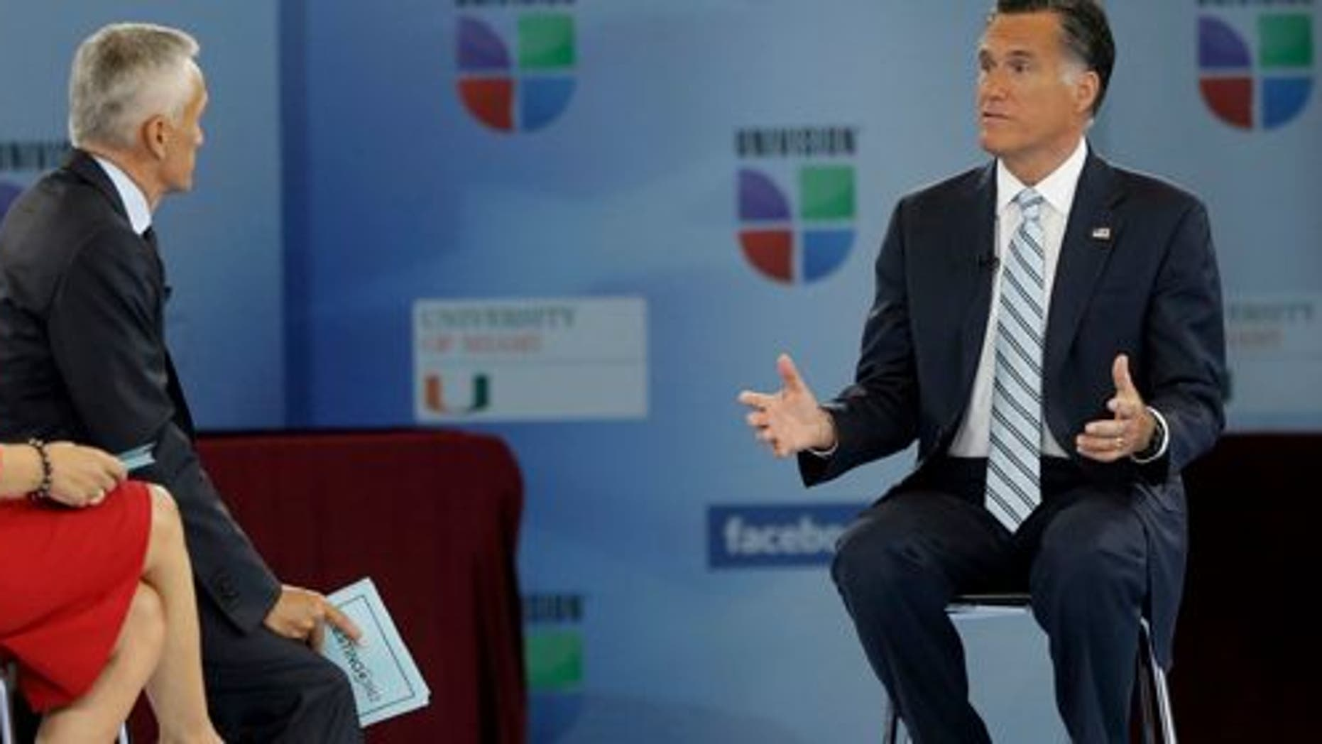 "Republican presidential candidate and former Massachusetts Gov. Mitt Romney participates in a Univision ""Meet the Candidates"" forum with Jorge Ramos and Maria Elena Salinas in Miami, Wednesday, Sept. 19, 2012.  (AP Photo/Charles Dharapak)"