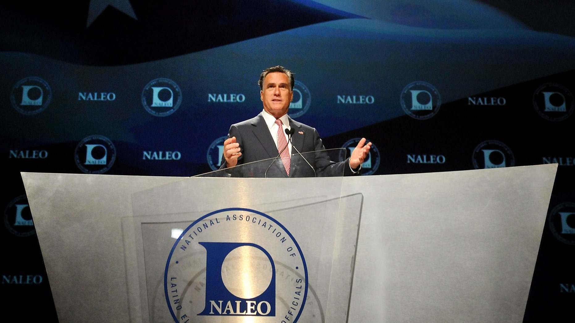 Republican Presidential candidate, former Massachusetts Governor Mitt Romney speaks at the National Association of Latino Elected and Appointed Officials (NALEO) 29th Annual Conference on June 21, 2012 in Lake Buena Vista, Florida. (Photo by Gerardo Mora/Getty Images)