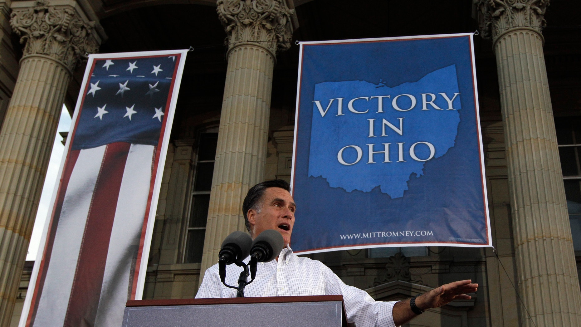 Aug. 14, 2012:  Former Massachusetts Gov. Mitt Romney speaks during a campaign event at the Ross County Court House.