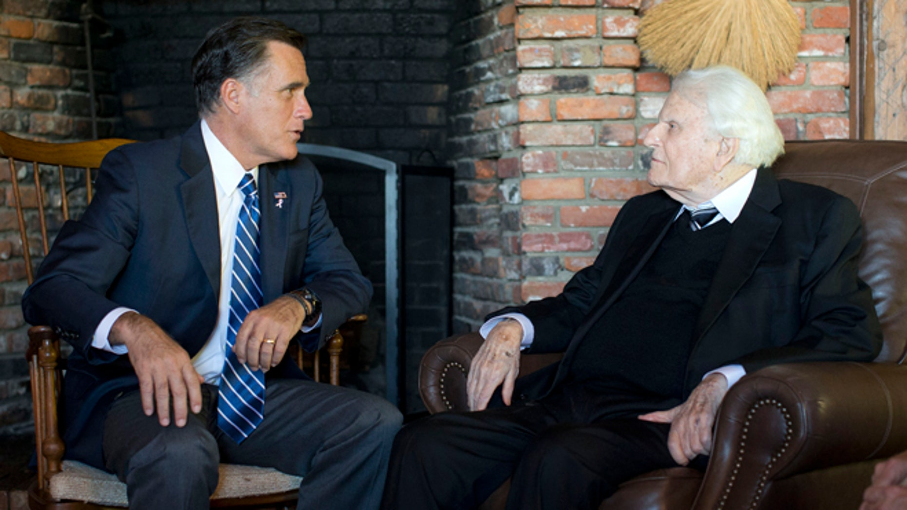 Oct. 11, 2012: Republican presidential candidate, former Massachusetts Gov. Mitt Romney meets with Rev. Billy Graham in Montreat, N.C.