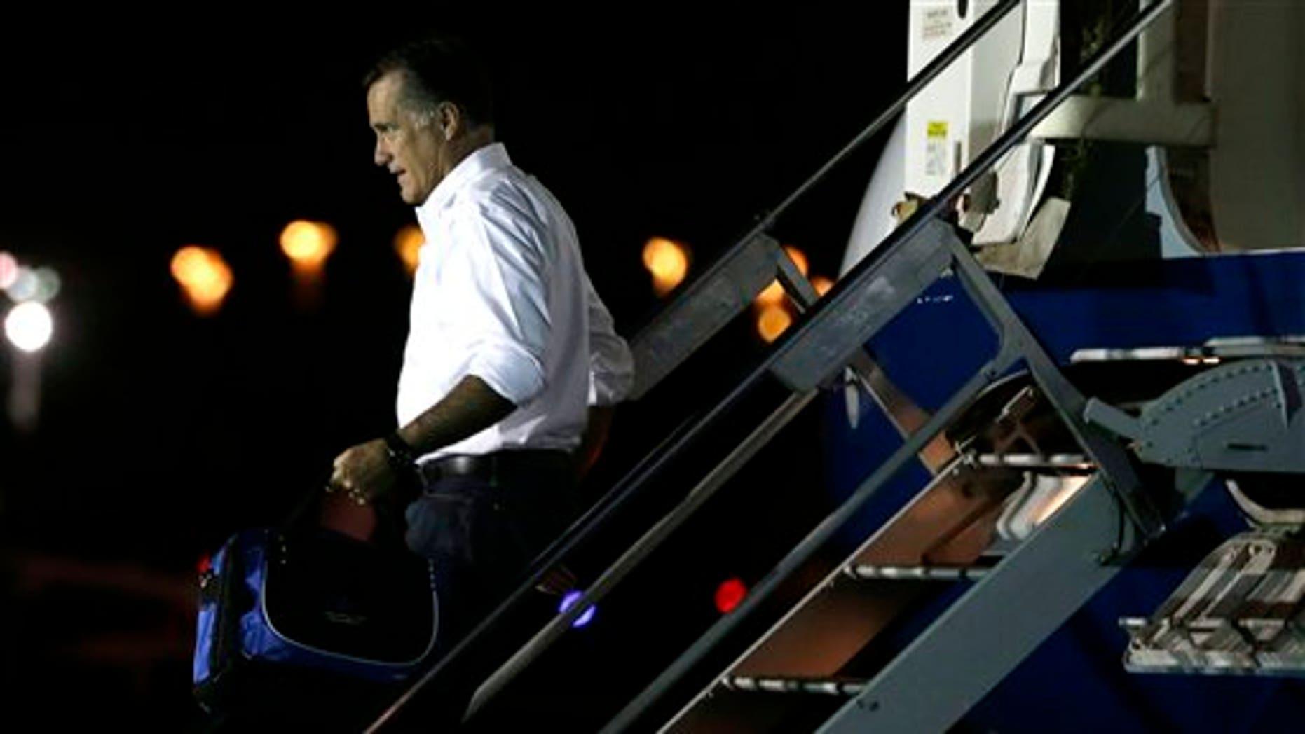 Sept. 11, 2012: Republican presidential candidate and former Massachusetts Gov. Mitt Romney arrives in Jacksonville, Fla.
