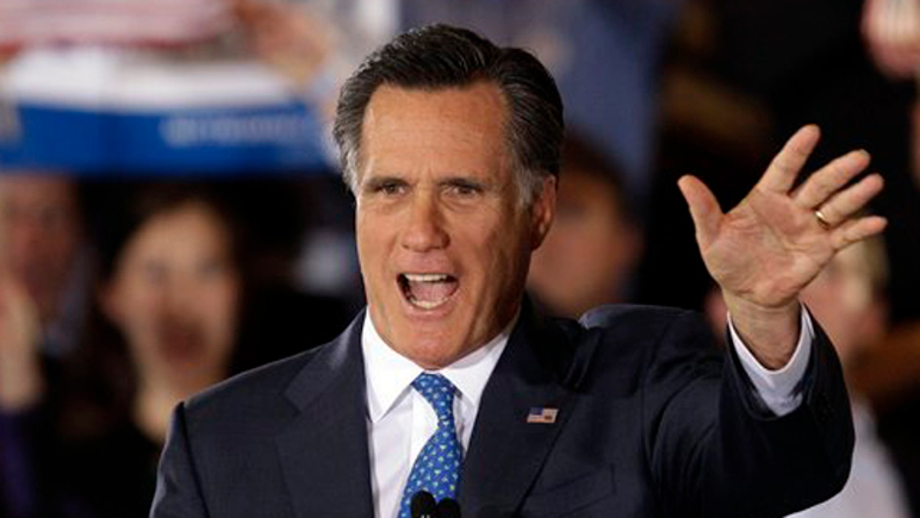 Mar. 6, 2012: Republican presidential candidate, former Massachusetts Gov. Mitt Romney addresses supporters at his Super Tuesday campaign rally in Boston.