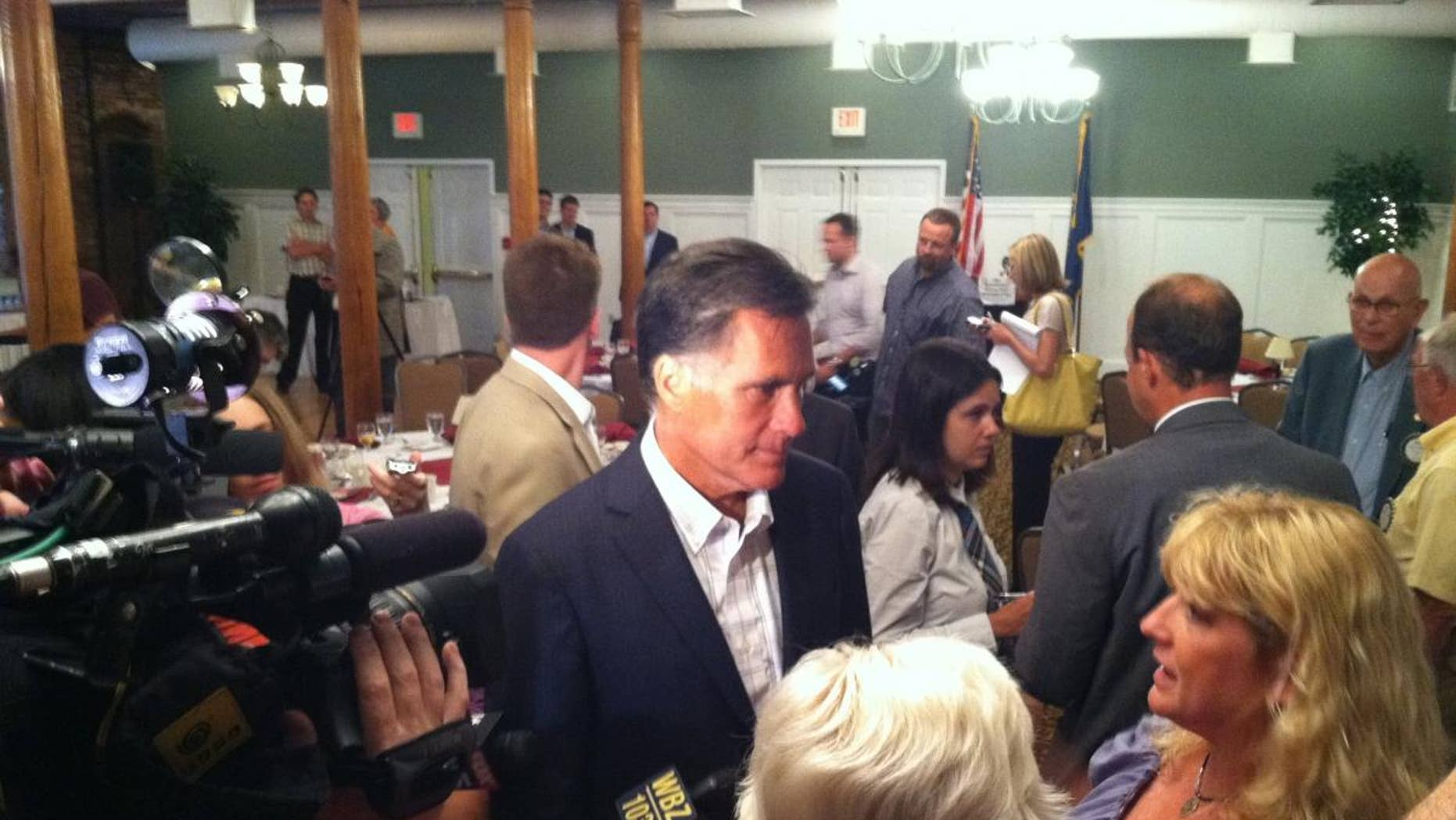 Mitt Romney talks to reporters in New Hampshire. (Fox News Photo)