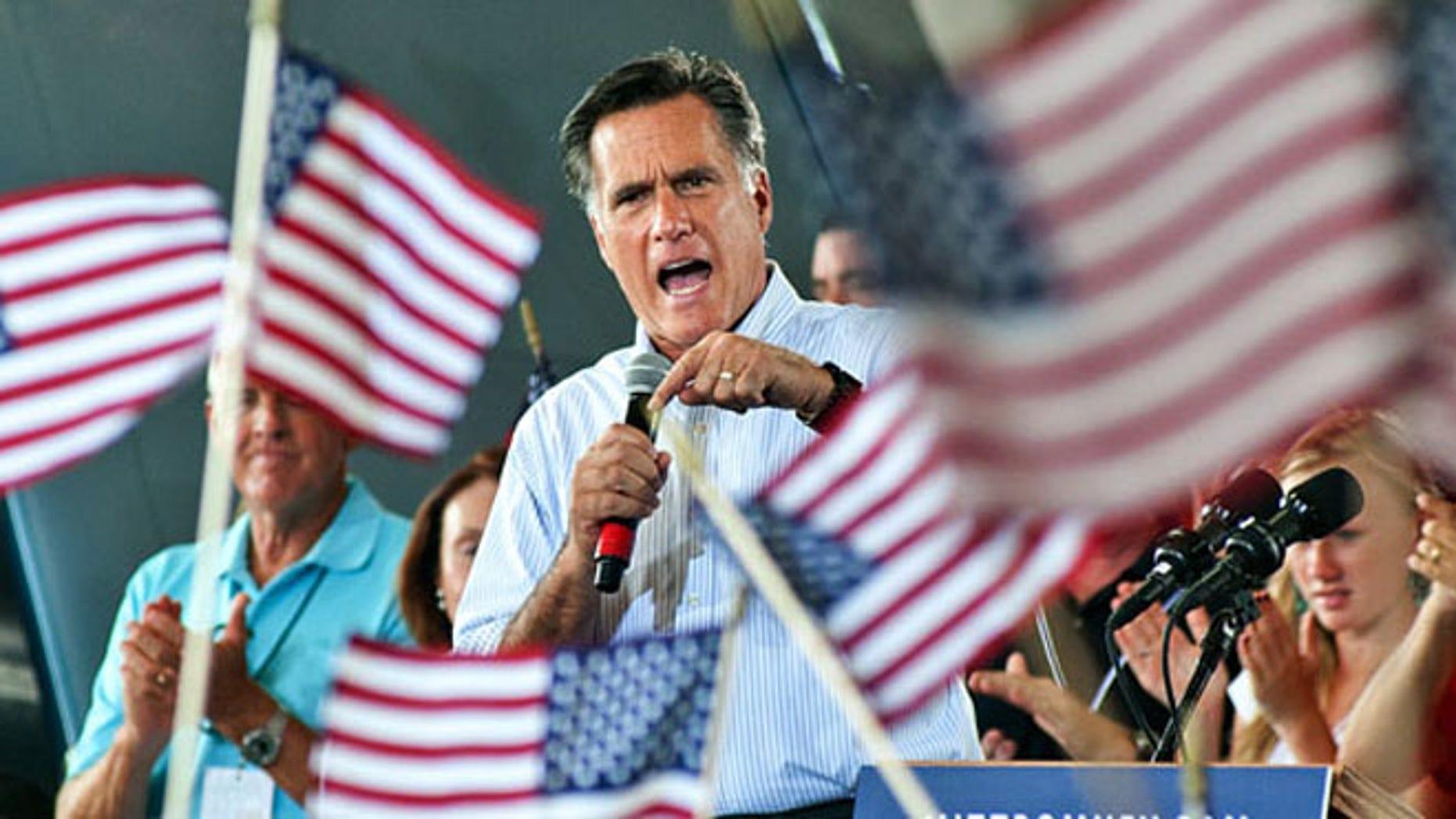 Mitt Romney speaks at a rally.