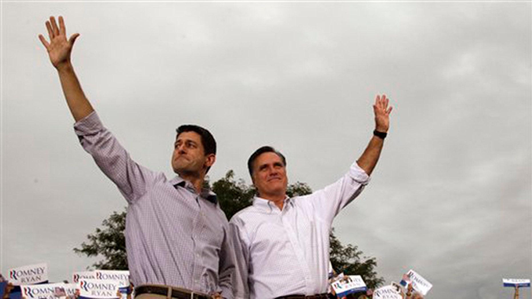 Aug. 12, 2012: Mitt Romney, right, and vice presidential running mate Rep. Paul Ryan of  Wisconsin, at the Waukesha County Expo Center ,in Waukesha, Wis.