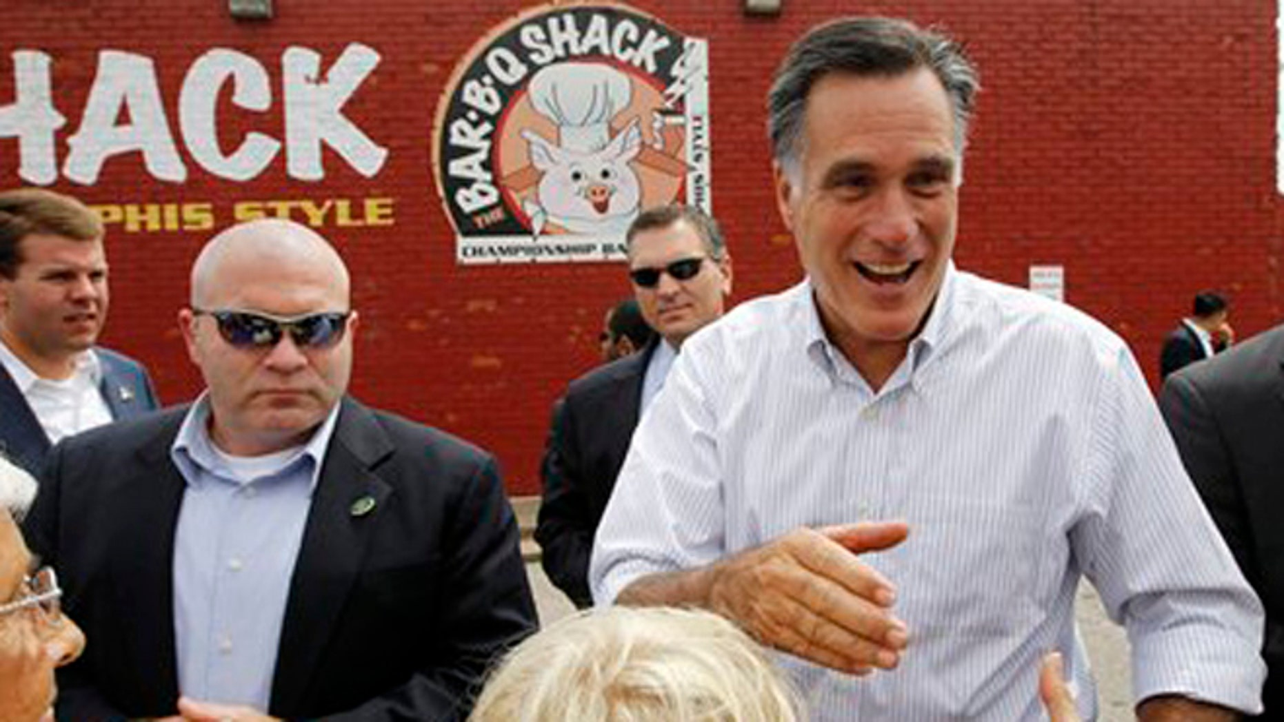 Aug. 4, 2012: Republican presidential candidate Mitt Romney campaigns at Stepto's BBQ Shack in Evansville, Ind.