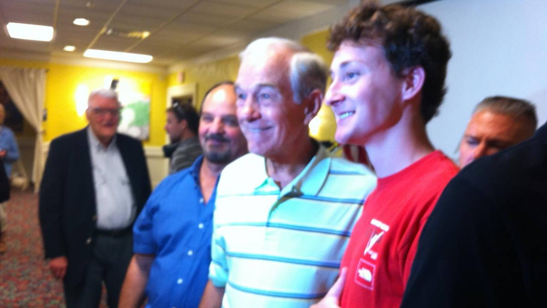 Ron Paul poses for a photo at Wednesday's campaign event in Mason City, Iowa. (Fox News Photo/Jake Gibson)