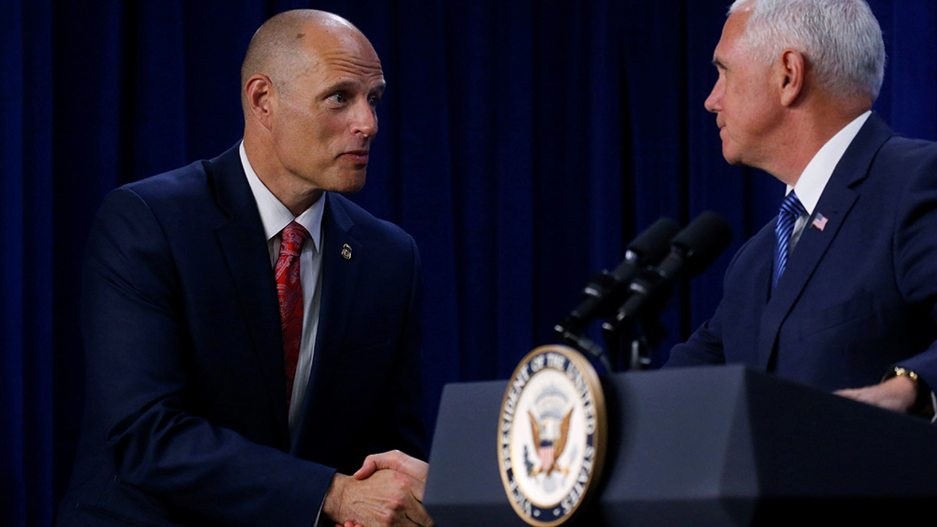 President Trump on Monday officially nominated Ronald Vitiello, left, to lead Immigration and Customs Enforcement.