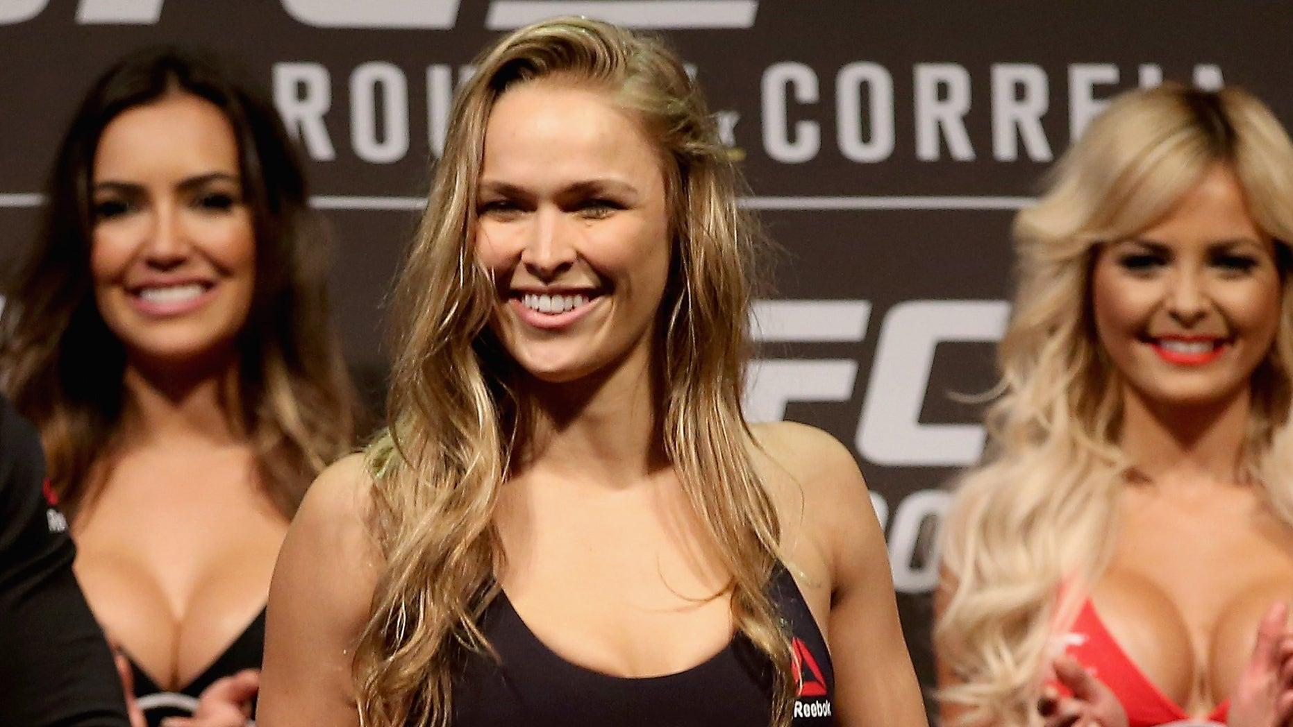 UFC Strawweight Champion Ronda Rousey on July 31, 2015 in Rio de Janeiro, Brazil.