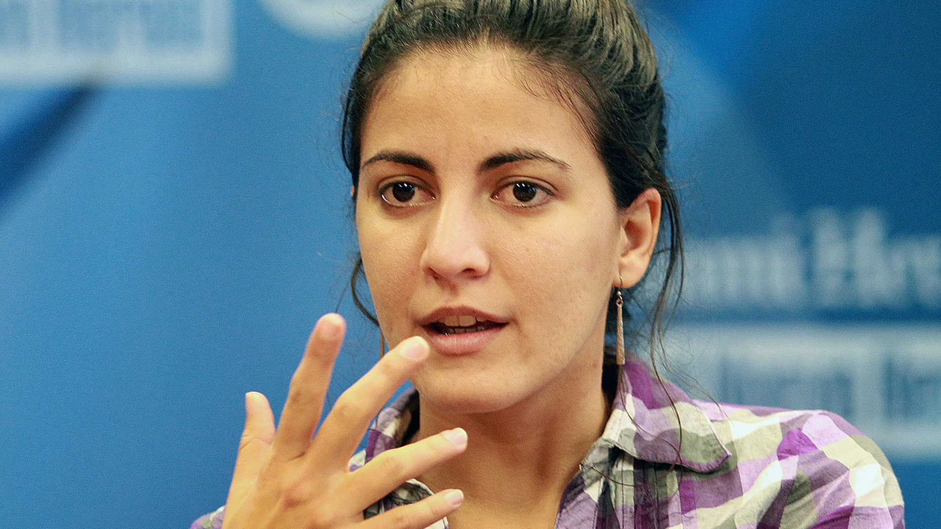 Rosa Maria Paya answers questions about her father at a meeting with the Miami Herald Editorial Board, April 15, 2013, in Miami, Florida. (C.M. Guerrero/Miami Herald/MCT)
