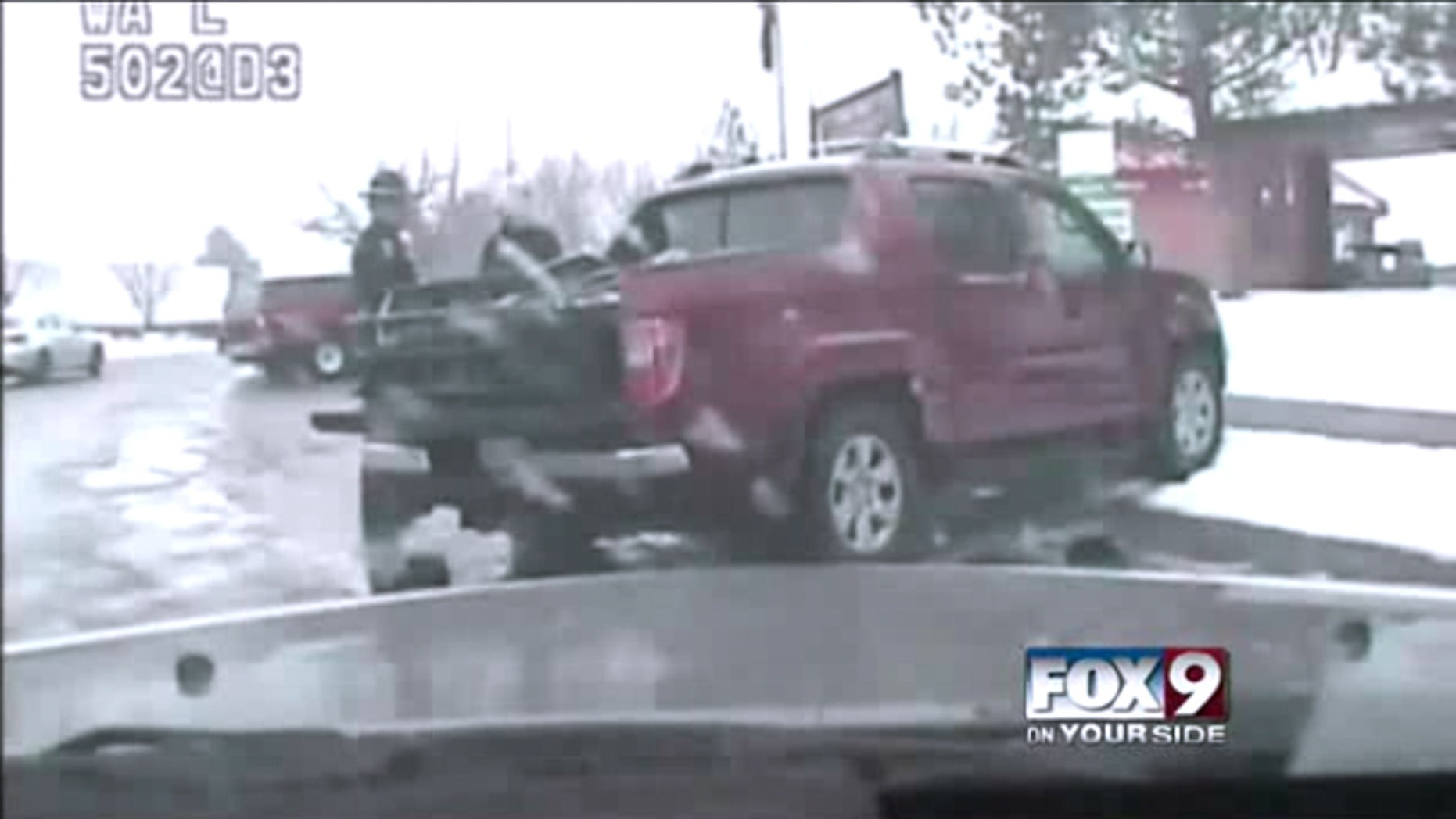 A screengrab from this dash-cam video, obtained by Fox affiliate KIVI-TV, shows Roseen being questioned by Klitch.