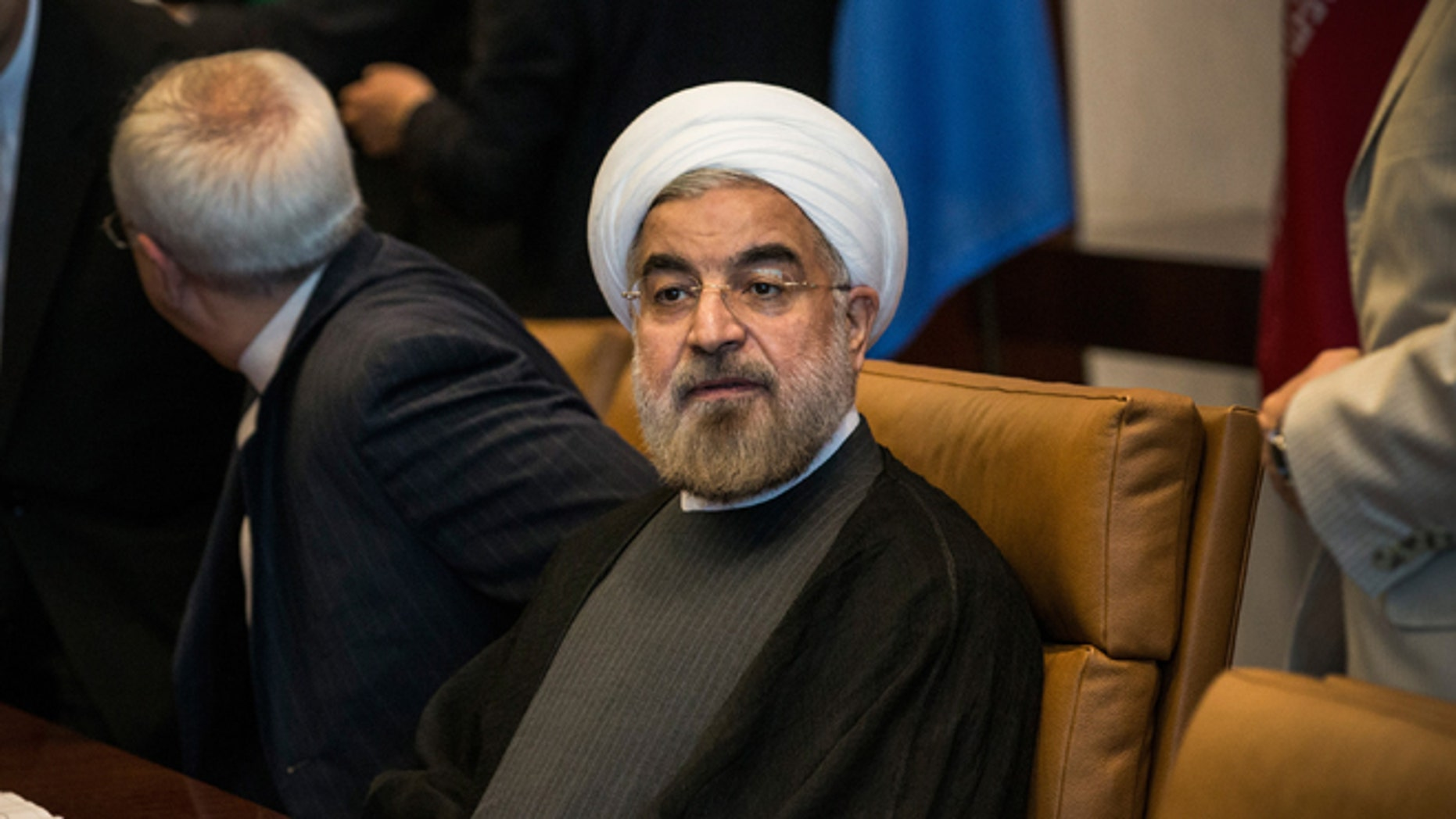 NEW YORK, NY - SEPTEMBER 26:  Iranian President Hassan Rouhani, meets with United Nations Secretary General Ban Ki-moon (not seen) on the sidelines of the United Nations General Assembly on September 26, 2013 in New York City. While their have been talks of diplomatic relations between Iran and the United states restarting, Rouhani turned down an opportunity to meet with U.S. President Barack Obama earlier in the week.  (Photo by Andrew Burton/Getty Images)