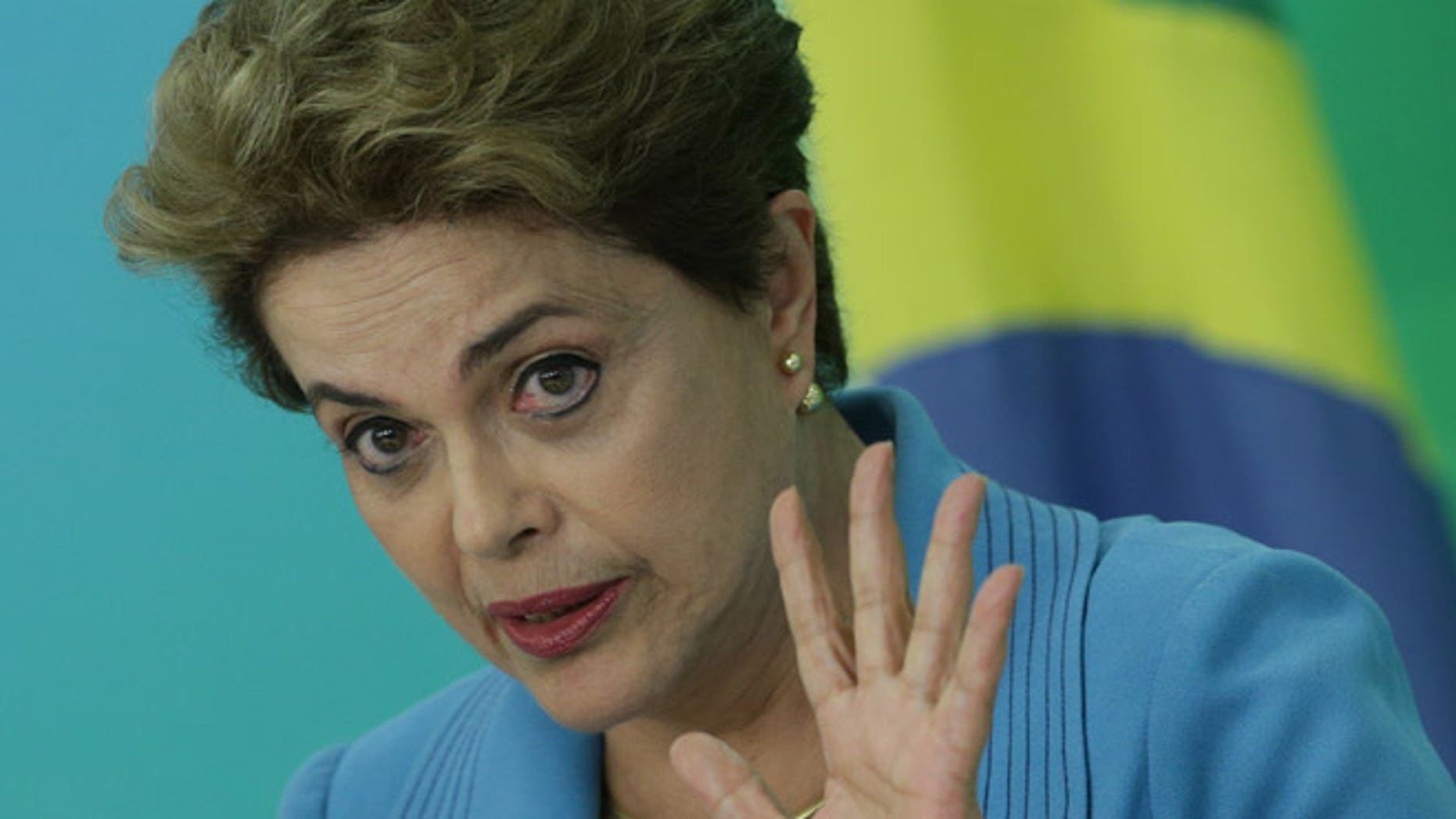 Brazil's President Dilma Rousseff during a press conference at Planalto Presidential Palace, in Brasilia, April 18, 2016.