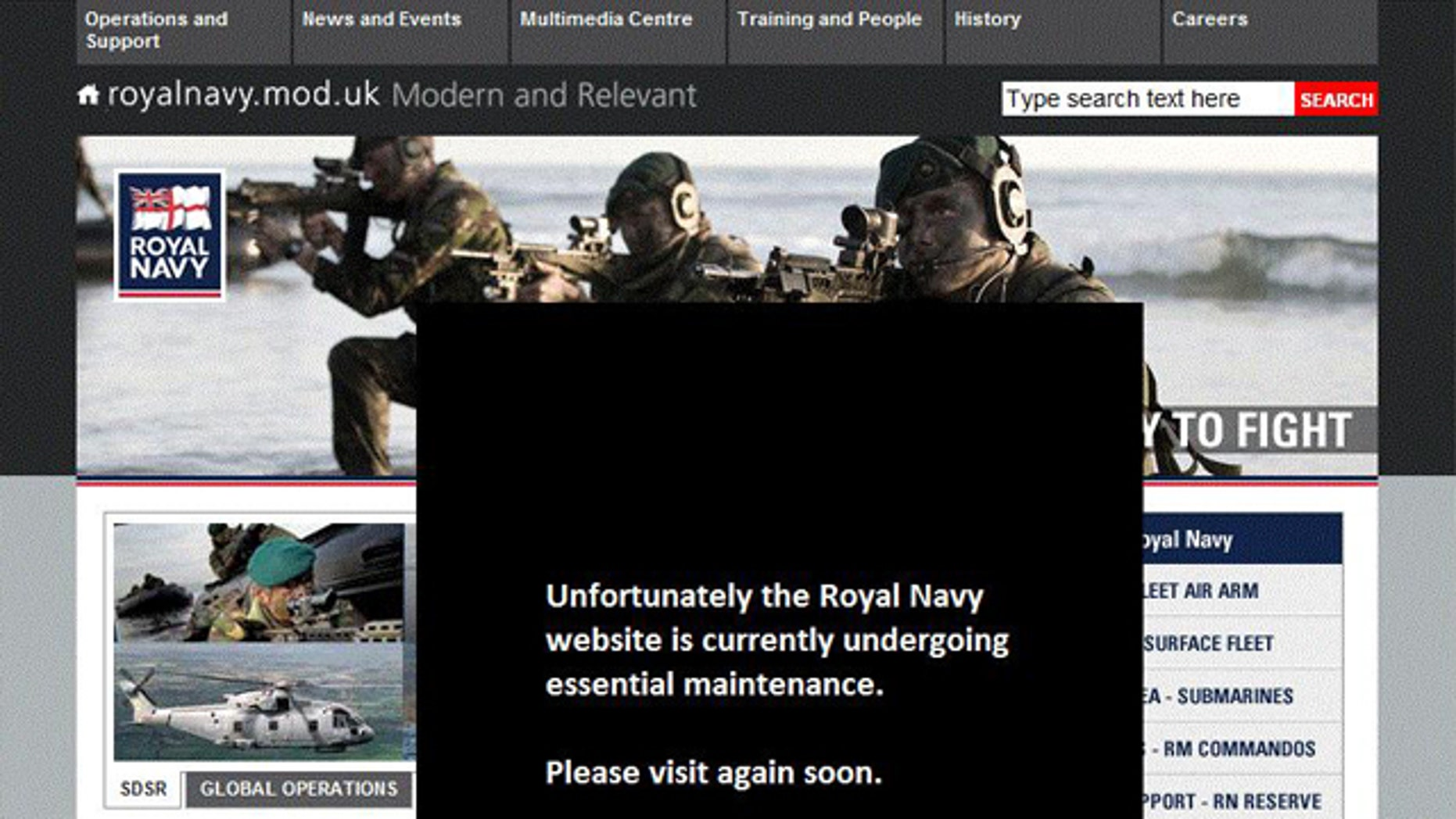 "The Website for Britain's Royal Navy is closed for ""essential maintenance"" after being hacked over the weekend."