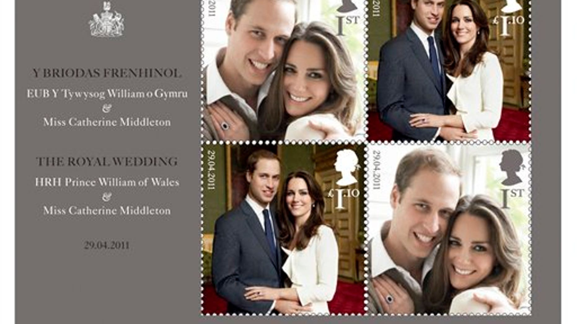 This handout image provided by the US Postal Service shows The Royal Wedding Presentation Pack being sold by the Postal Service. Britain's Royal Mail issued a special commemorative stamp for the wedding and American postal authorities are offering it as part of a wedding commemorative packet. (AP/USPS)