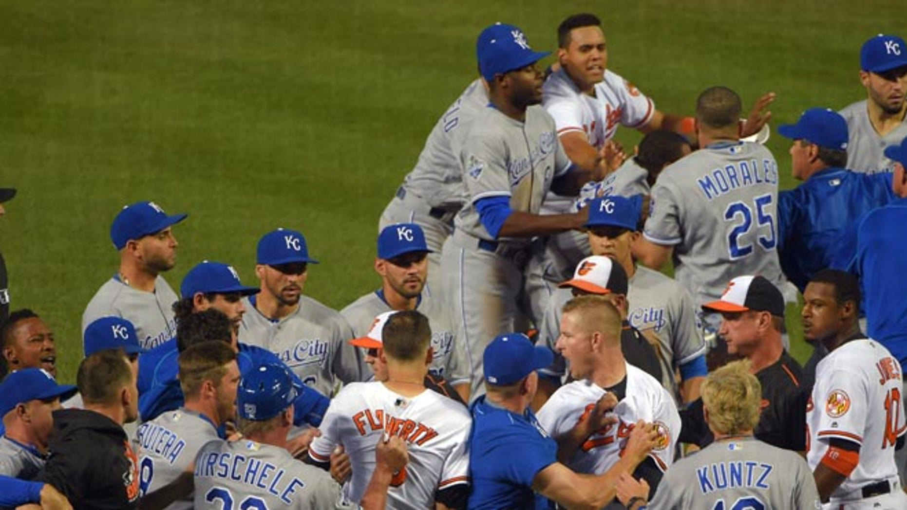 A fight breaks out between the Baltimore Orioles and Kansas City Royals after starting pitcher Yordano Ventura drilled Orioles batter Manny Machado during the fifth inning of a baseball game, Tuesday, June 7, 2016  at Camden Yards in Baltimore. (Karl Merton Ferron/The Baltimore Sun via AP)  WASHINGTON EXAMINER OUT; MANDATORY CREDIT
