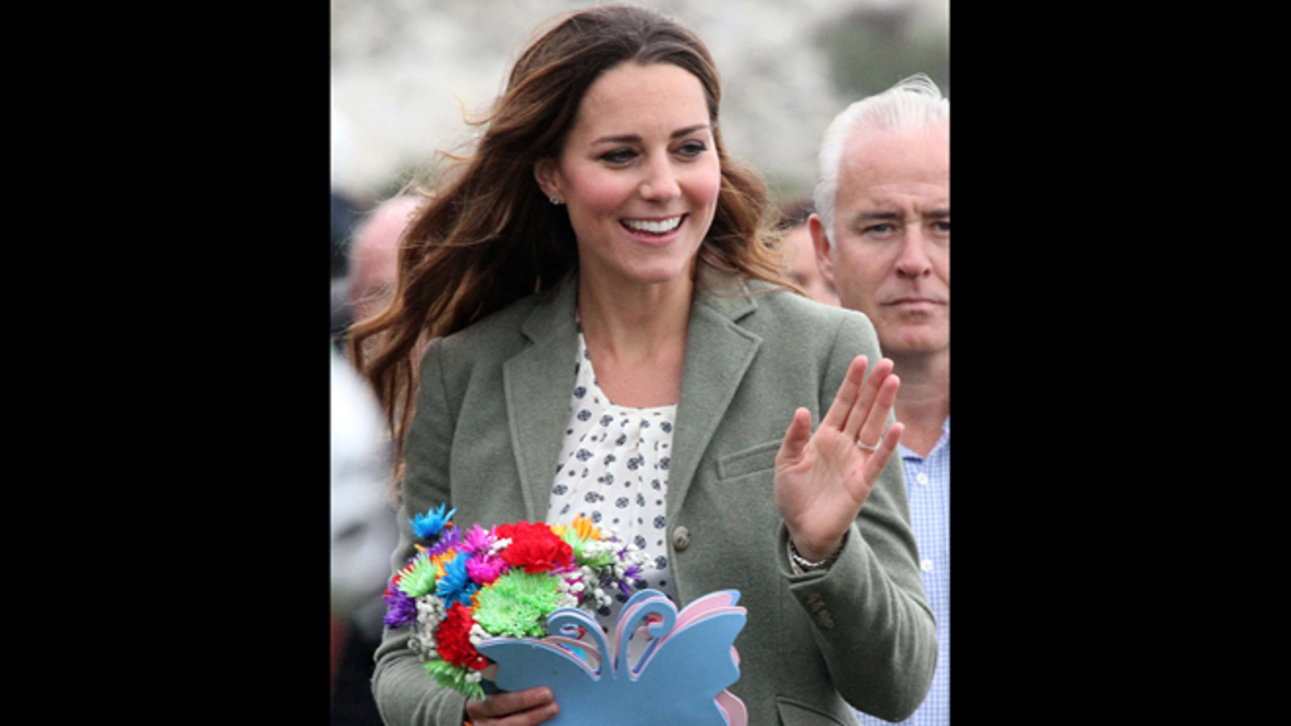 Aug 30, 2013: Kate, Duchess of Cambridge, made her first public appearance since the birth of Prince George as she joined husband Prince William, the Duke Of Cambridge,  at Breakwater Country Park for the start of the Ring O' Fire Anglesey Coastal Ultra Marathon, a three-day, 135-mile foot race around the rugged coast of Anglesey, Wales