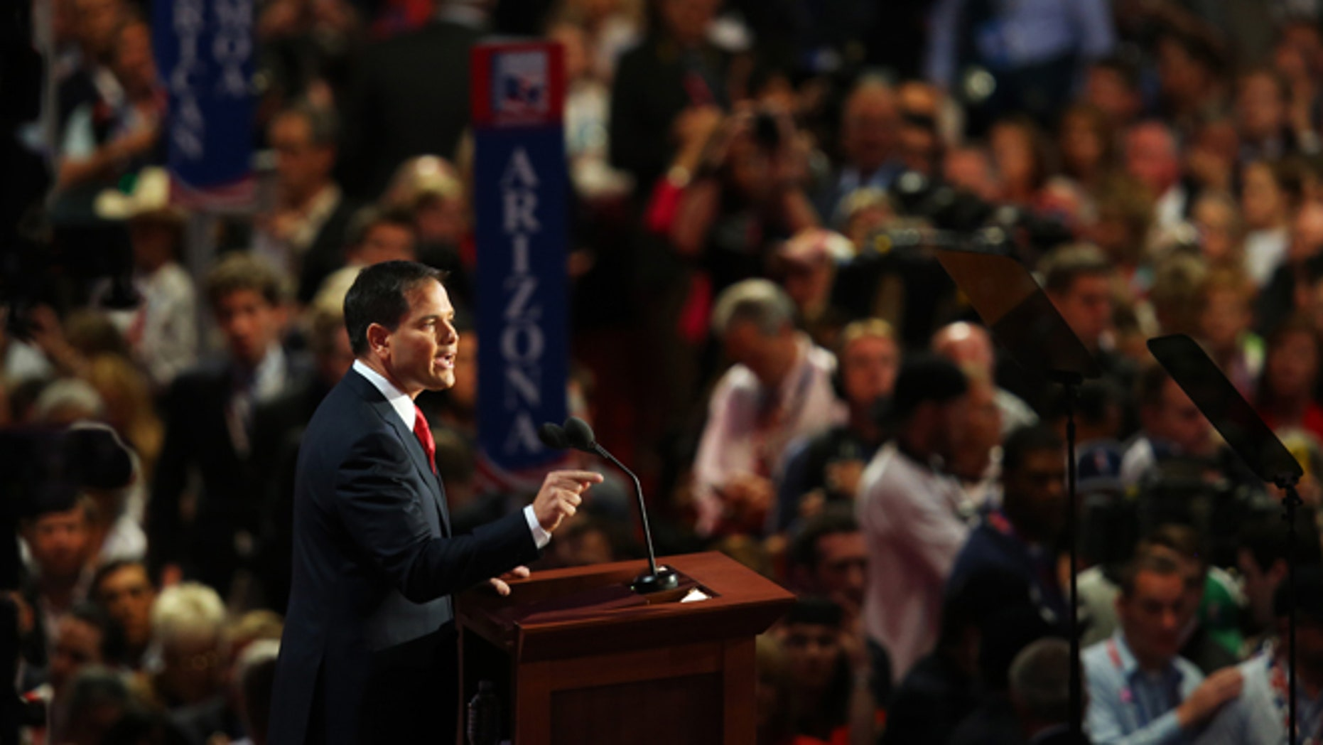 TAMPA, FL - AUGUST 30:  U.S. Senator Marco Rubio (FL) speaks during the final day of the Republican National Convention at the Tampa Bay Times Forum on August 30, 2012 in Tampa, Florida. Former Massachusetts Gov. Mitt Romney was nominated as the Republican presidential candidate during the RNC which will conclude today.  (Photo by Joe Raedle/Getty Images)