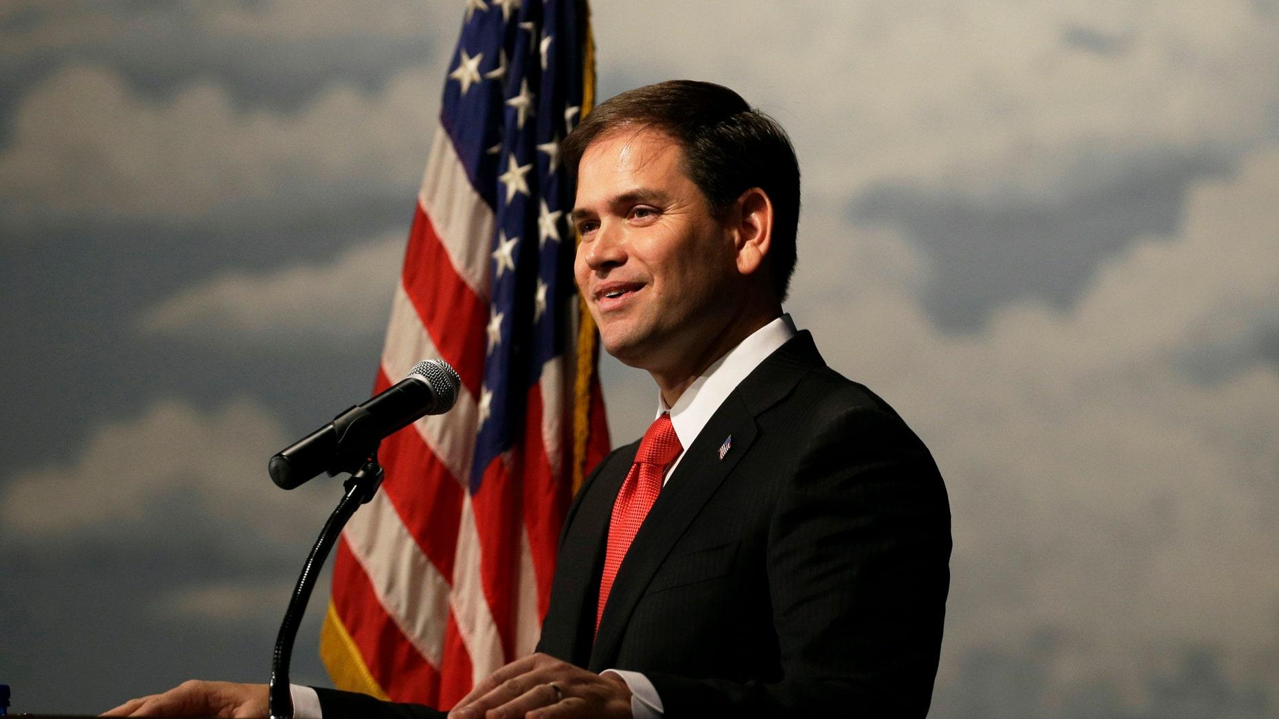 FILE: Nov. 17, 2012: Sen. Marco Rubio, R-Fla., speaks during Iowa Gov. Terry Branstad's annual birthday fundraiser.