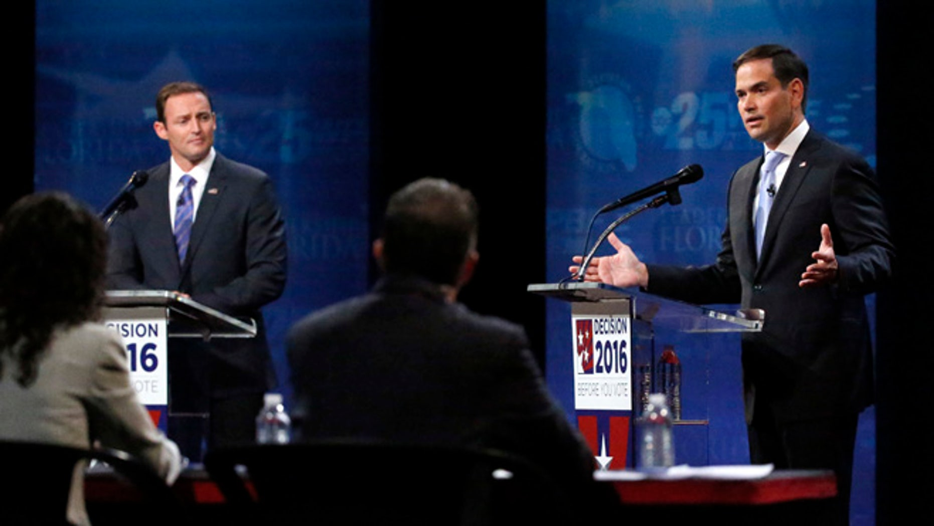 Sen. Marco Rubio and Rep. Patrick Murphy during a debate, Wednesday, Oct. 26, 2016, at Broward College in Davie, Fla.
