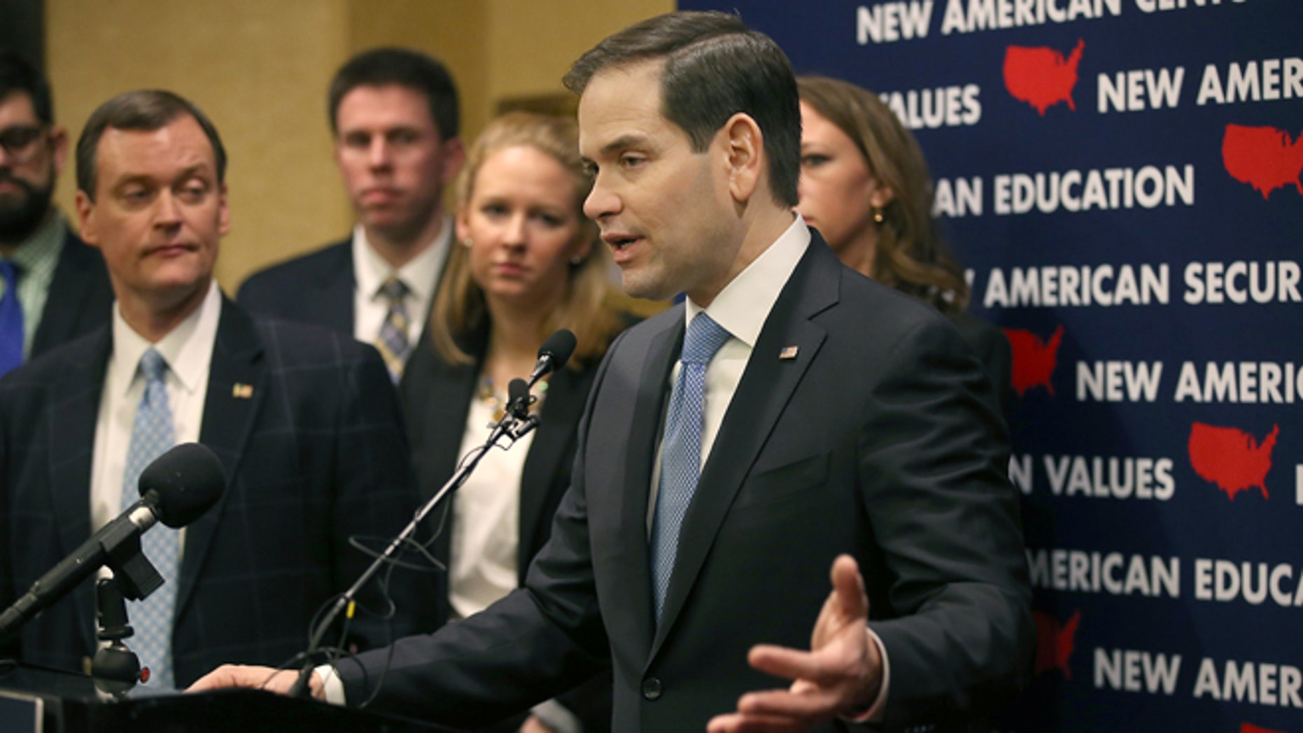 "GOP presidential candidate Marco Rubio, who made a brief stop in Minneapolis for a fundraiser at the Minneapolis Club, announces a ""Minnesota Leadership Team,"" during a press conference, Tuesday, Jan. 19, 2016,in Minneapolis. (Elizabeth Flores/Star Tribune via AP)"