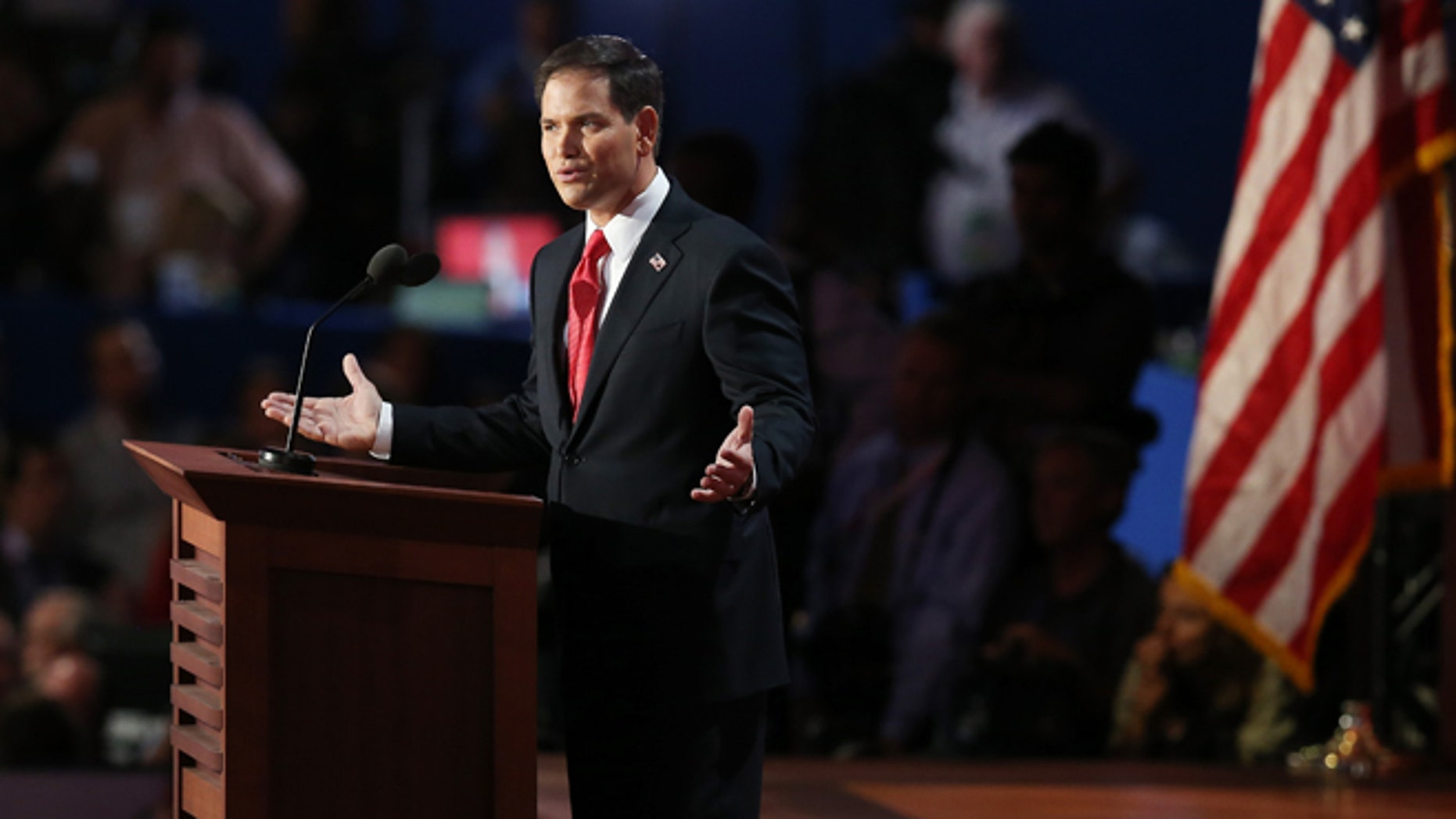 TAMPA, FL - AUGUST 30:  U.S. Senator Marco Rubio (FL) speaks during the final day of the Republican National Convention at the Tampa Bay Times Forum on August 30, 2012 in Tampa, Florida. Former Massachusetts Gov. Mitt Romney was nominated as the Republican presidential candidate during the RNC which will conclude today.  (Photo by Scott Olson/Getty Images)