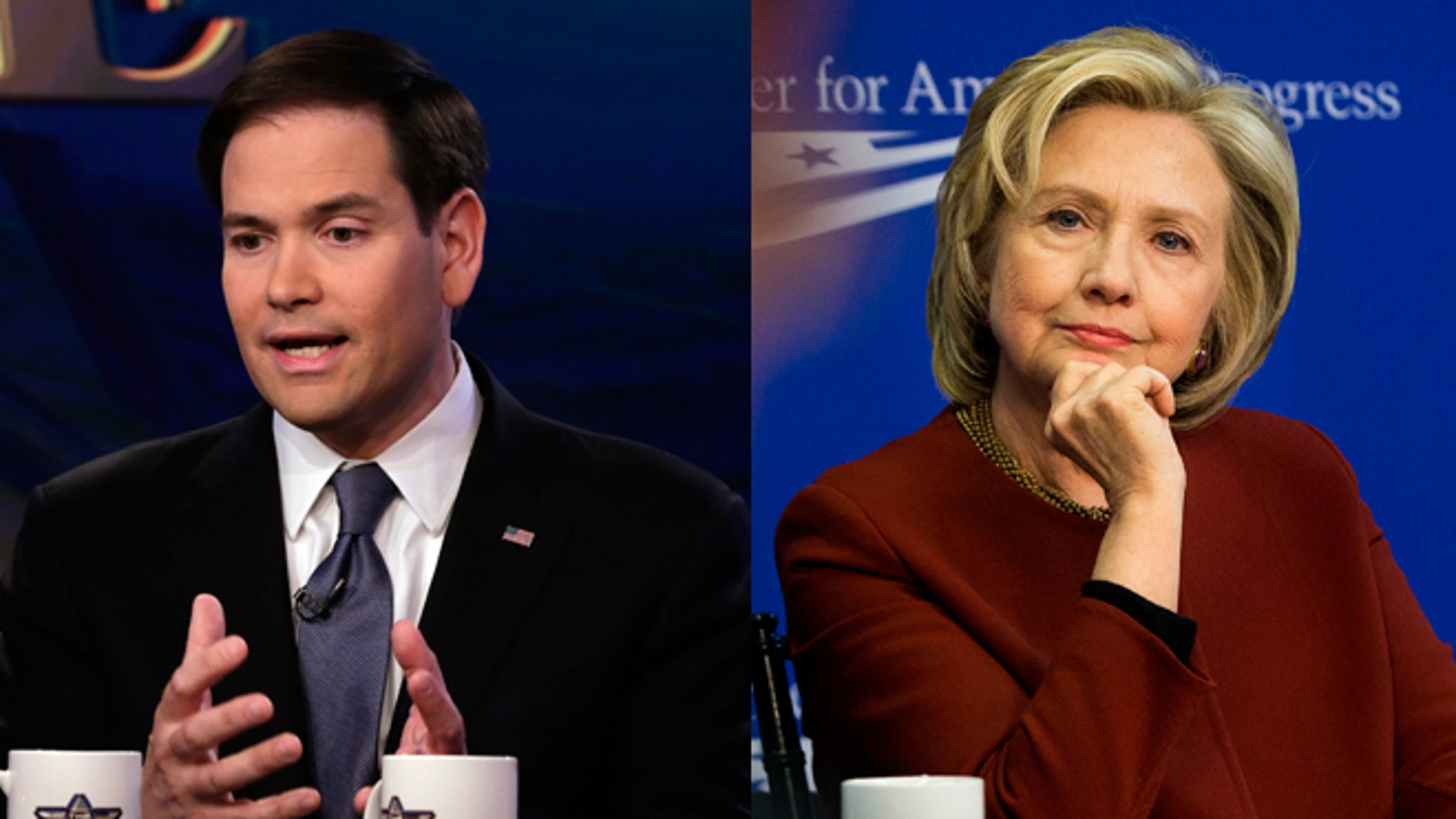 """Left: U.S. Sen. Marco Rubio, R-Fla, appears on """"The Five"""" television program, on the Fox News Channel, in New York, Monday, March 30, 2015. (AP Photo/Richard Drew) Right: Former Secretary of State Hillary Rodham Clinton listens during an event hosted by the Center for American Progress (CAP) and the America Federation of State, County and Municipal Employees (AFSCME), in Washington on March 23, 2015. A final nuclear deal with Iran would enable Clinton to claim a piece of the victory. But if negotiations fall apart or produce an agreement that lets Iran pursue a bomb, Clinton would own a piece of the failure. (AP Photo/Pablo Martinez Monsivais)"""