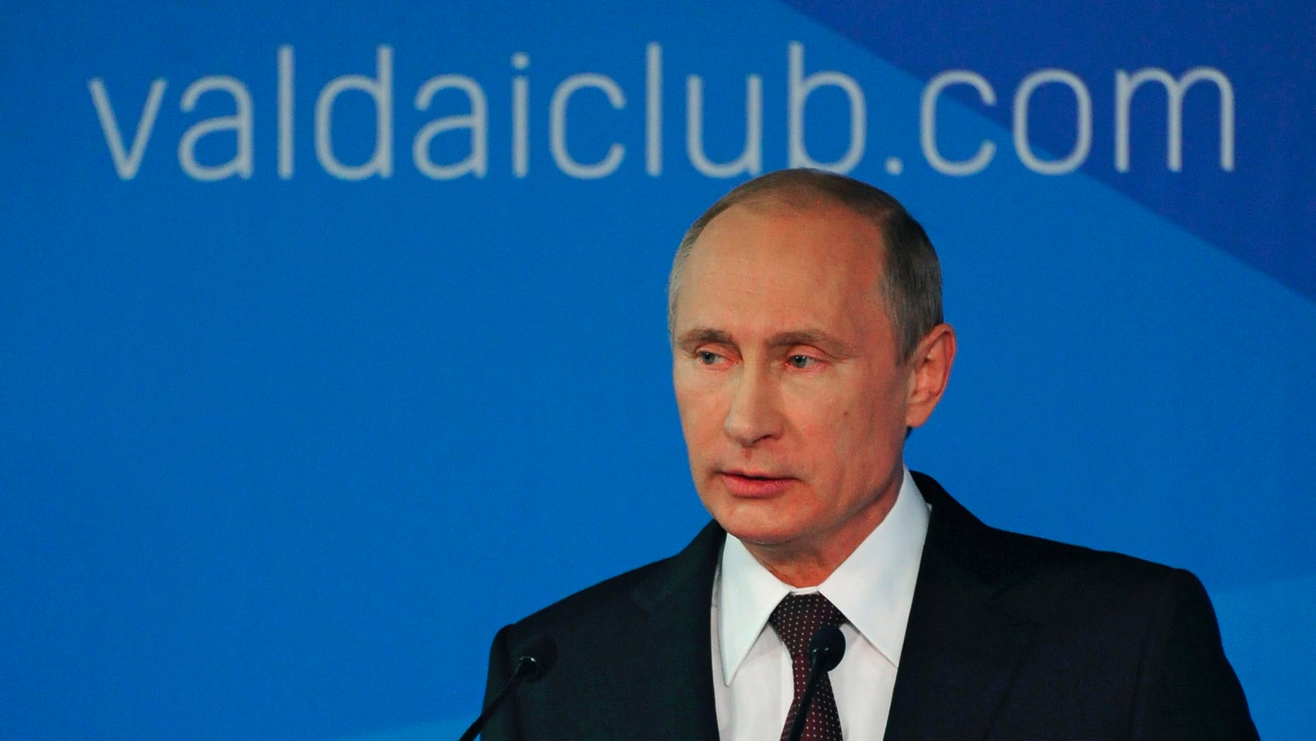 Oct. 24, 2014 - Russian President Vladimir Putin speaks to political experts at a meeting of the Valdai International Club in Sochi, Russia. Putin accused the U.S. of destabilizing the world by trying to enforce its will on other countries.