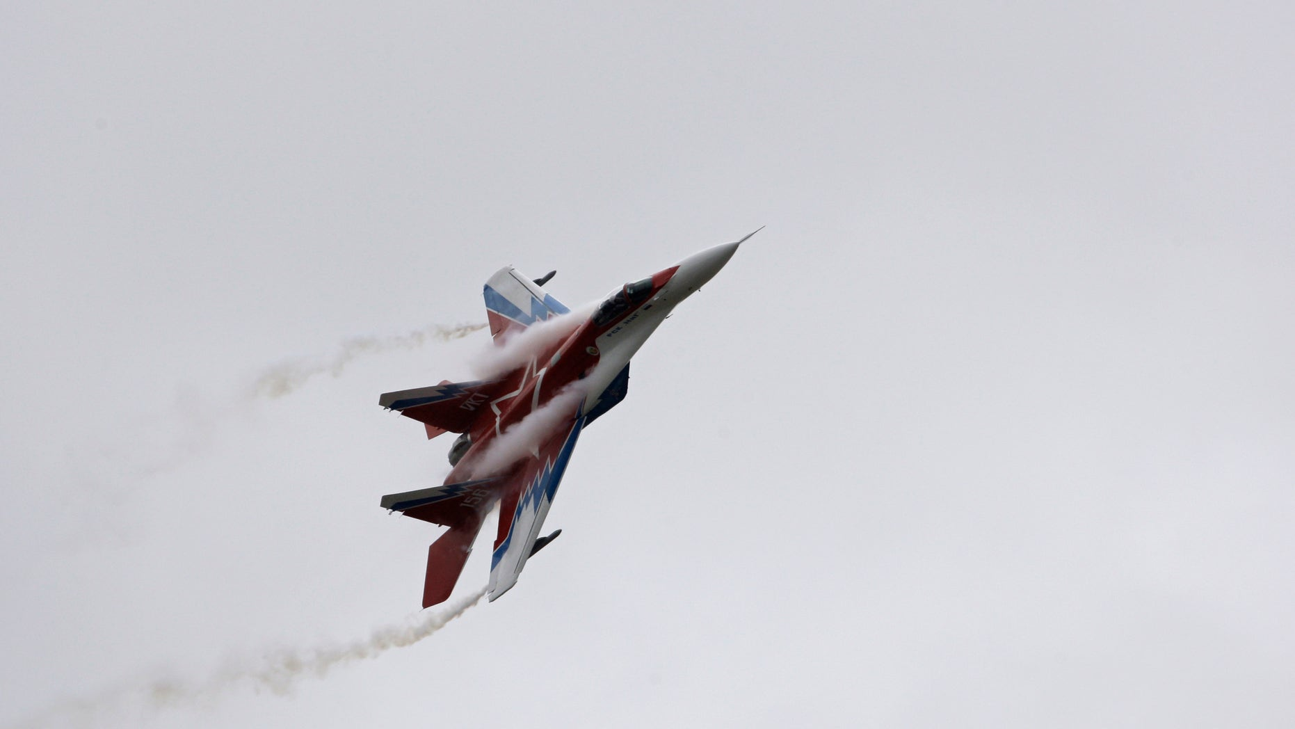 Aug. 21, 2009  -FILE photo, a Russian-made MiG-29 jet fighter flown by the aerobatic team Strizhi (Swifts) perform during the International Aviation and Space Show in Zhukovsky, outside Moscow, Russia.
