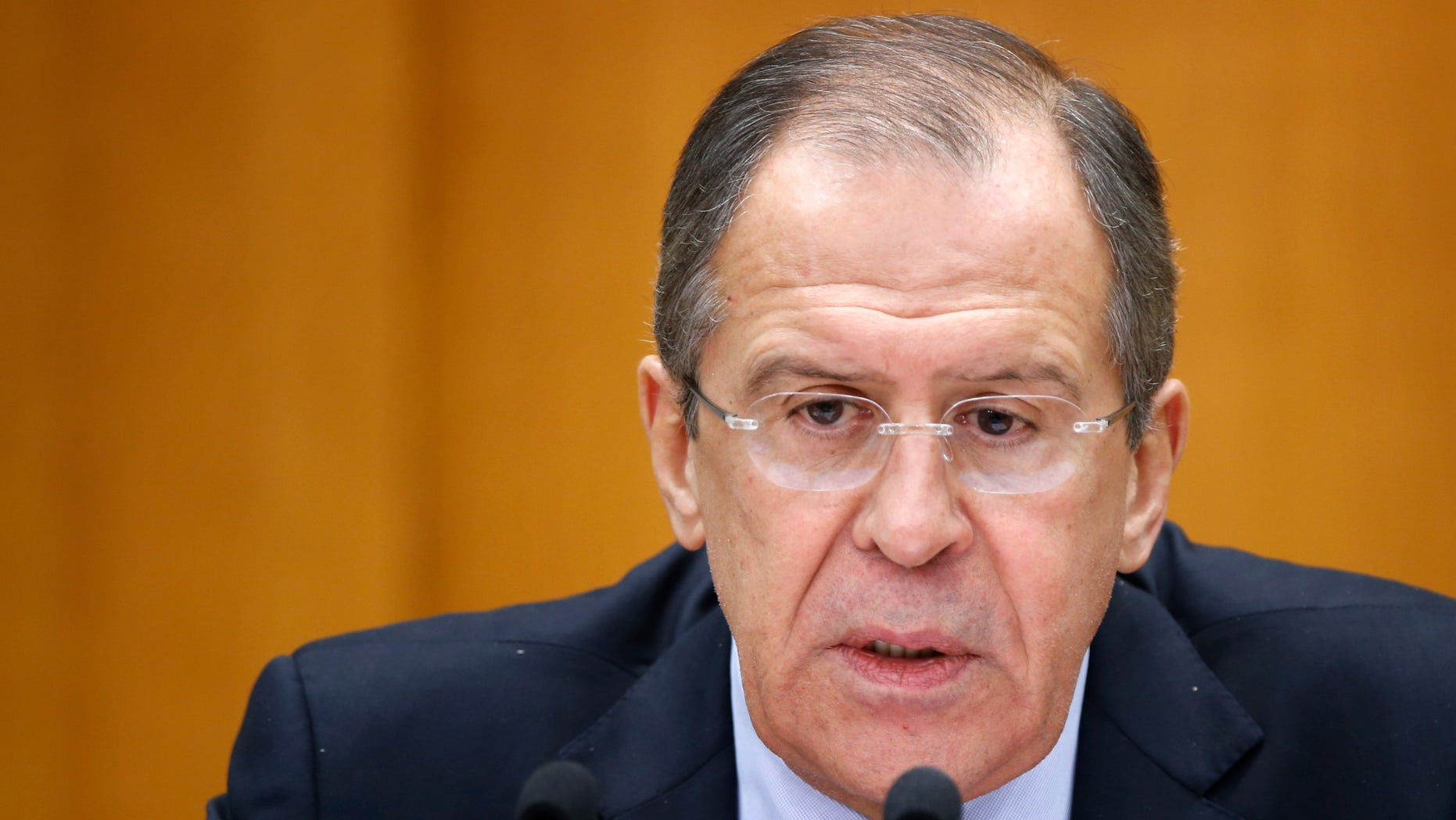 Jan. 23, 2013 - Russian Foreign Minister Sergey Lavrov during his news conference in Moscow, Russia.