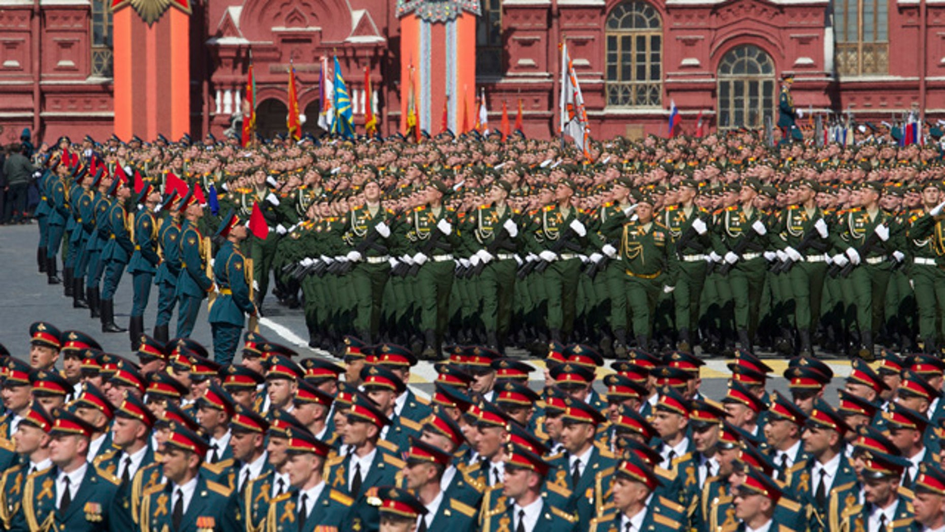 May 9, 2015: Russian army soldiers march along Red Square during the Victory Parade marking the 70th anniversary of the defeat of Nazi Germany in World War II in Moscow. (AP Photo/Ivan Sekretarev)