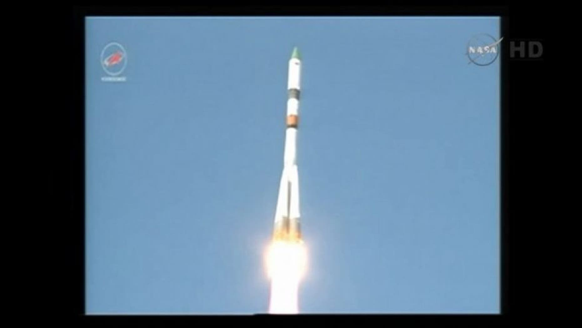 Russia's robotic Progress 59 cargo spacecraft launches toward the International Space Station atop a Soyuz rocket from Baikonur Cosmodrome in Kazakhstan on April 28, 2015.