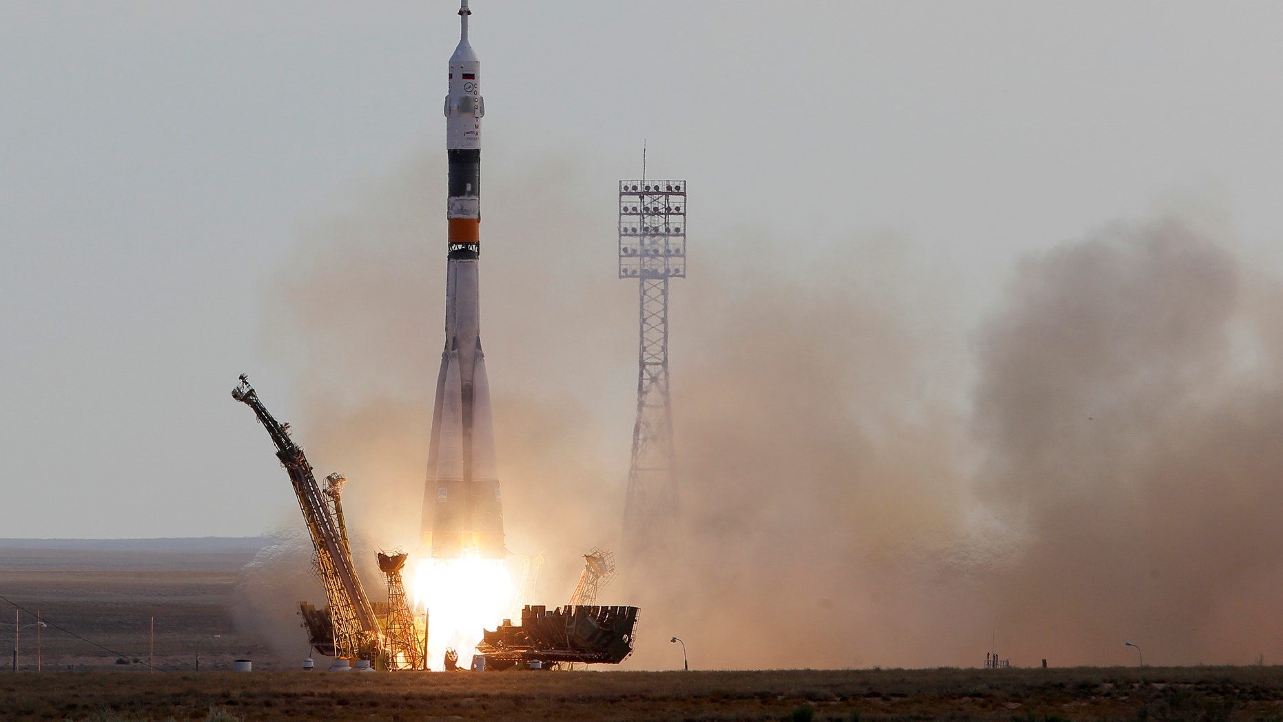 July 15, 2012: The Soyuz-FG rocket booster with Soyuz TMA-05M spaceship carrying a new crew to the International Space Station, ISS, blasts off from the Russian leased Baikonur Cosmodrome, in Kazakhstan.