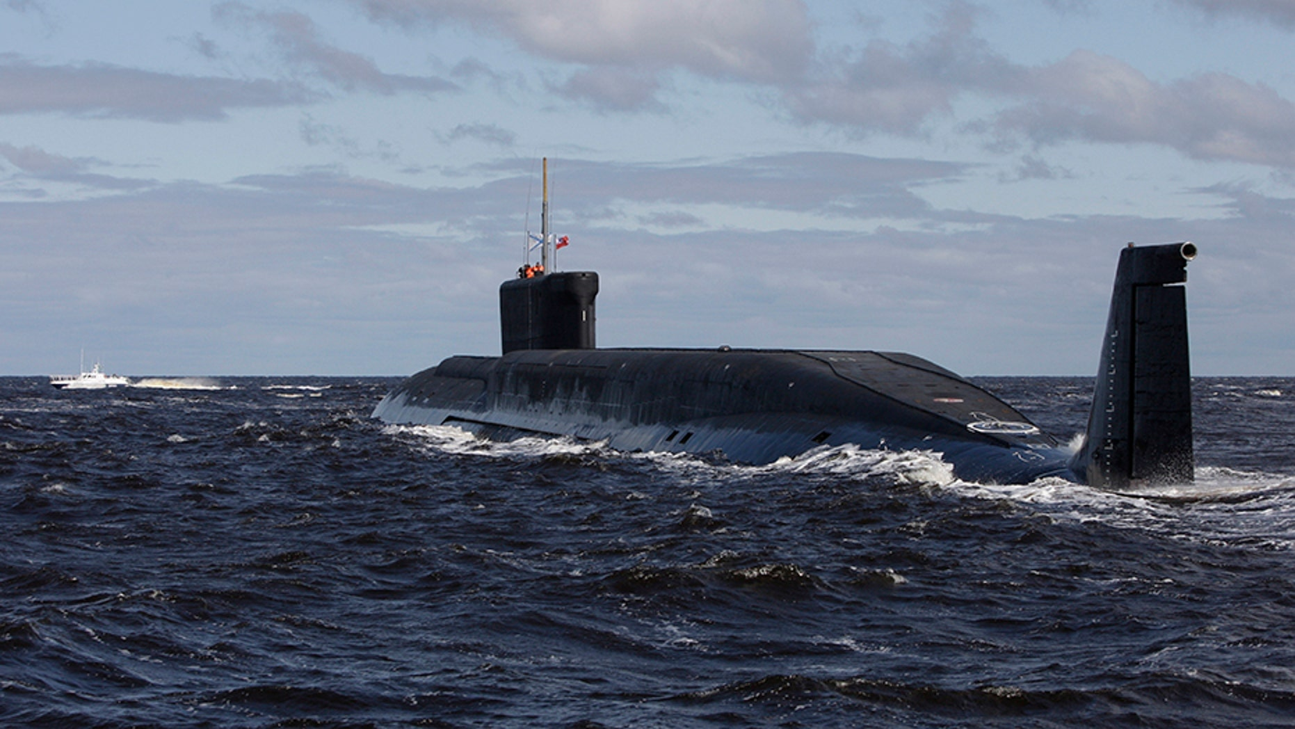 In this file photo taken on Thursday, July 2, 2009, the Russian nuclear submarine, Yuri Dolgoruky, is seen during sea trials near Arkhangelsk, Russia.